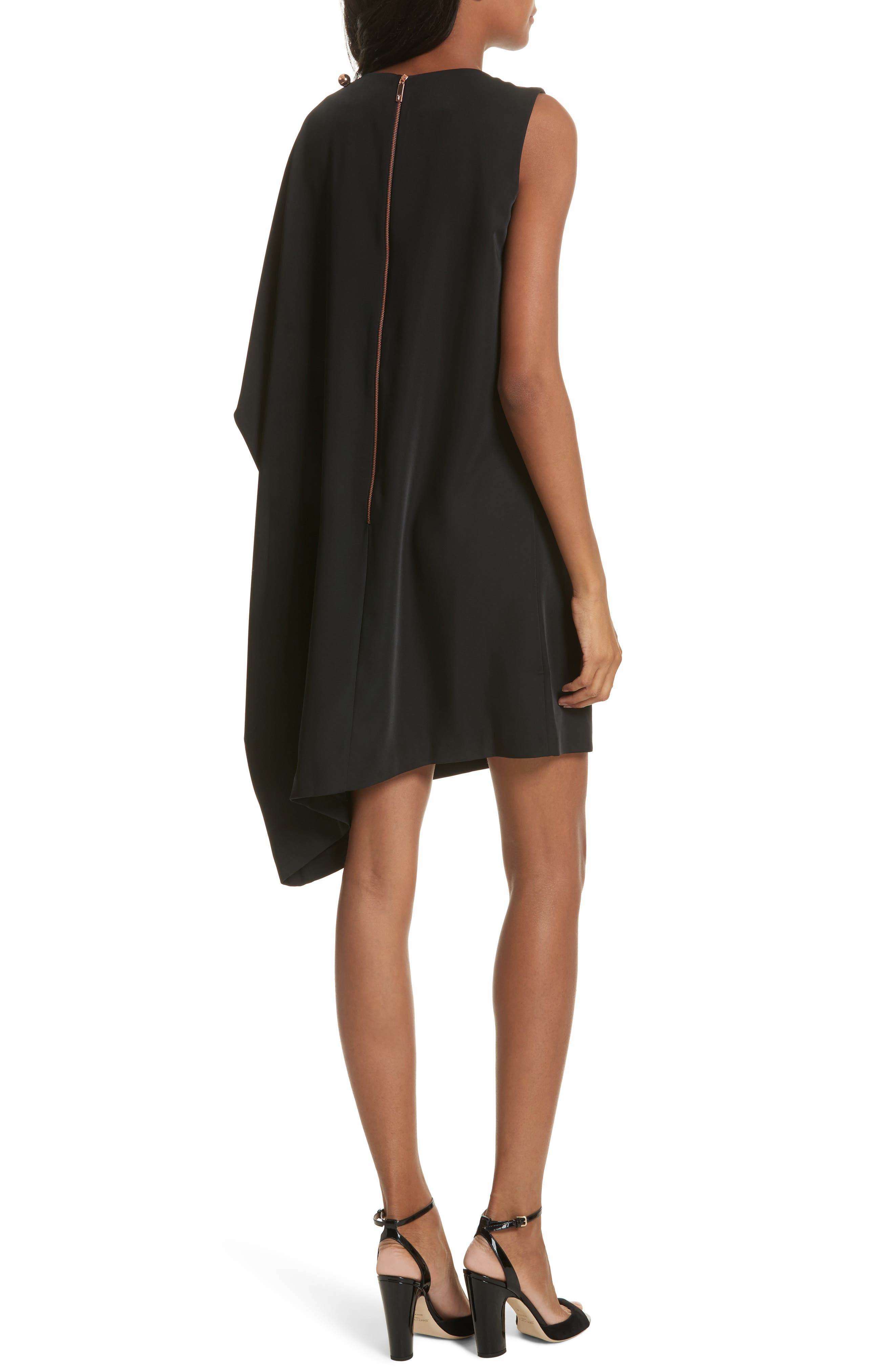 Oversize Drape Front Dress,                             Alternate thumbnail 2, color,                             001