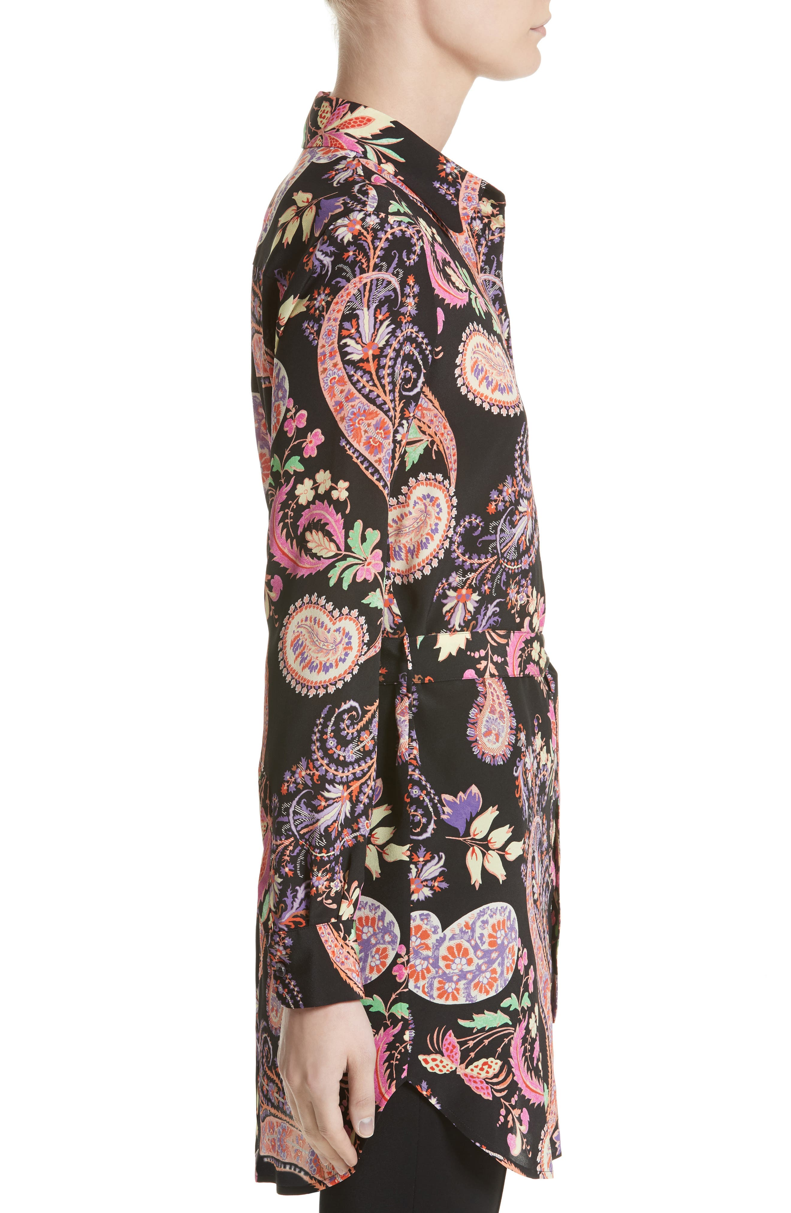 Floral Paisley Print Silk Tunic,                             Alternate thumbnail 3, color,                             001