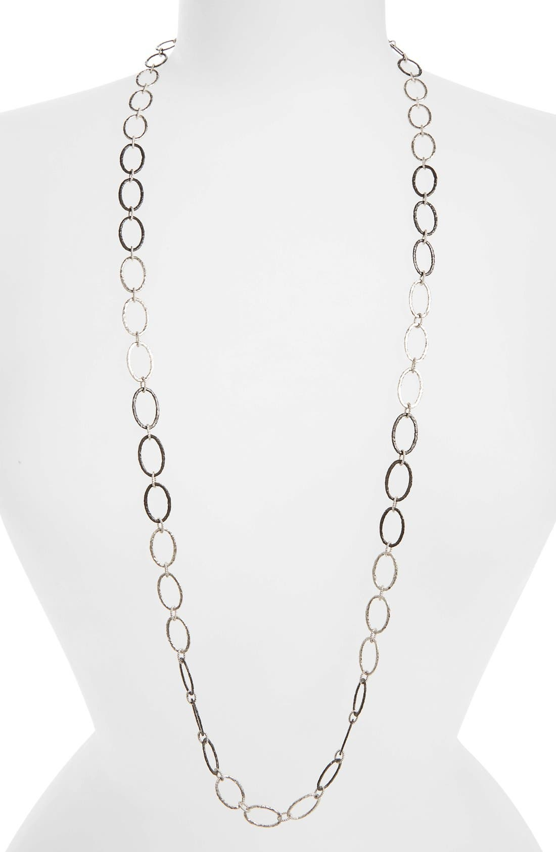 Old World Midnight Oval Link Necklace,                         Main,                         color, SILVER