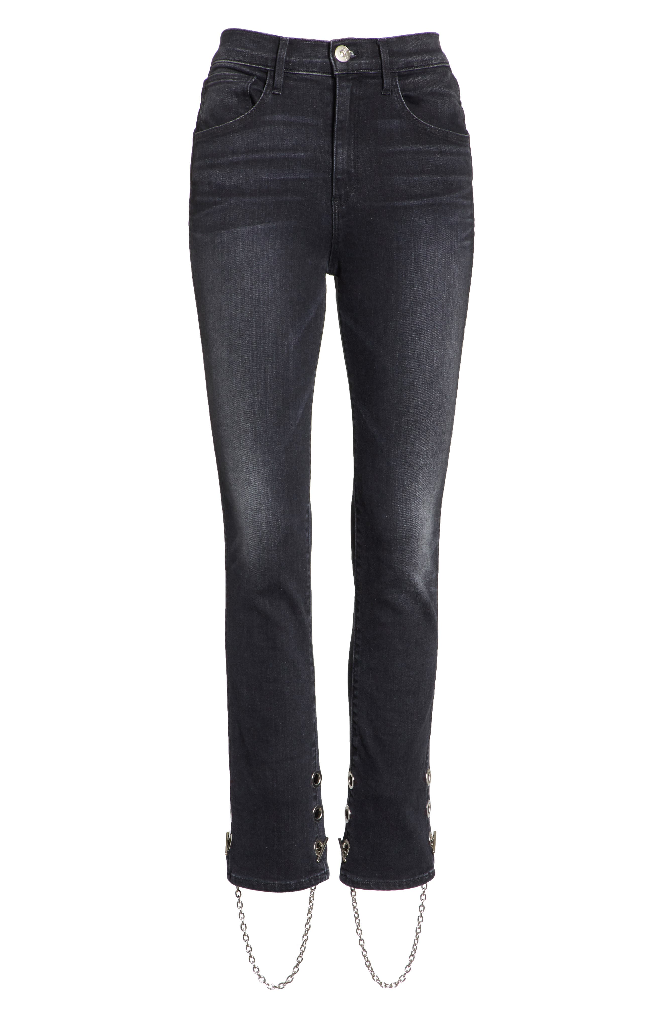 3X1 NYC,                             Bijou Chain Stirrup Ankle Skinny Jeans,                             Alternate thumbnail 7, color,                             004