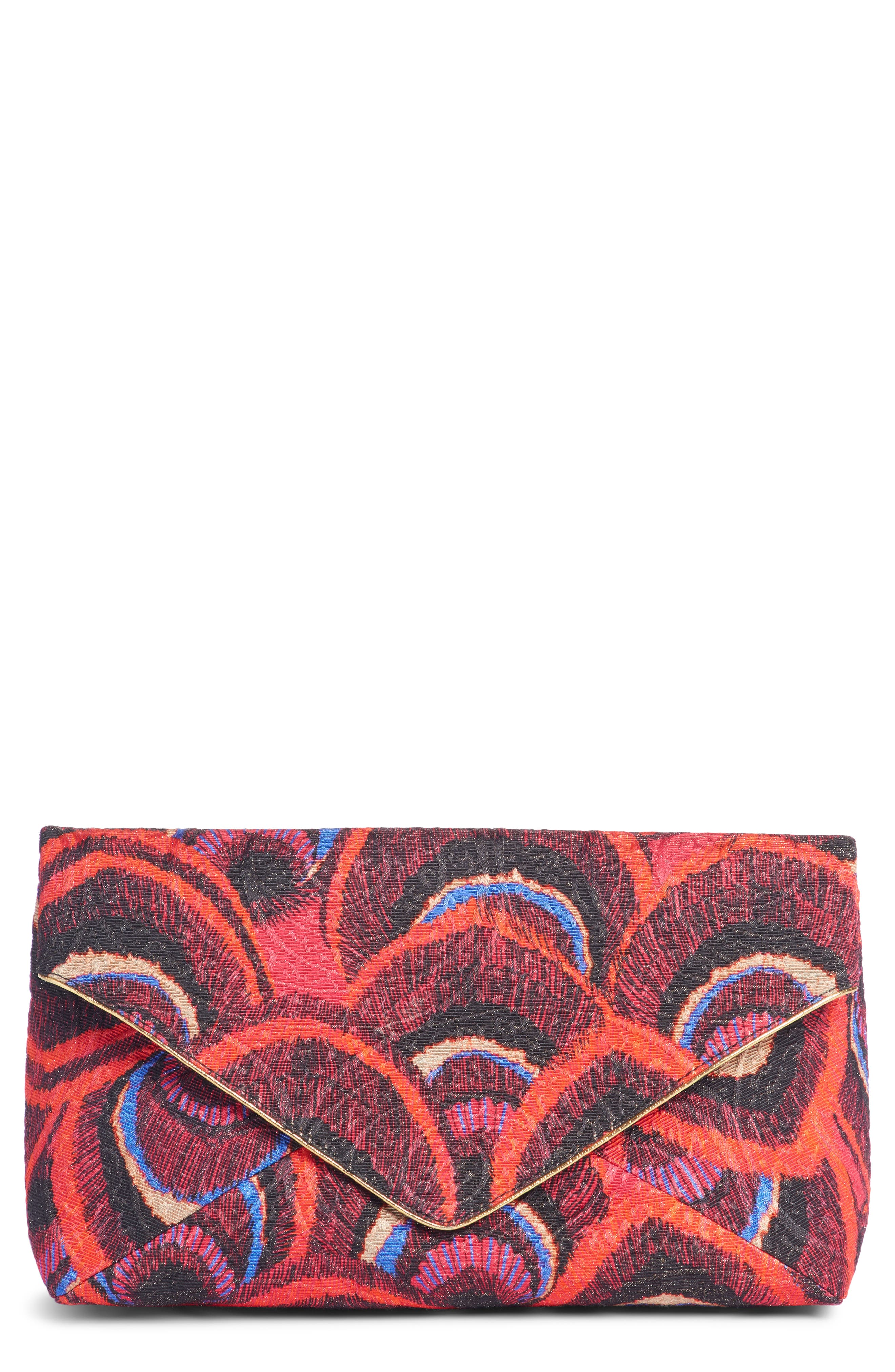 Peacock Jacquard Envelope Clutch,                         Main,                         color, CHERRY