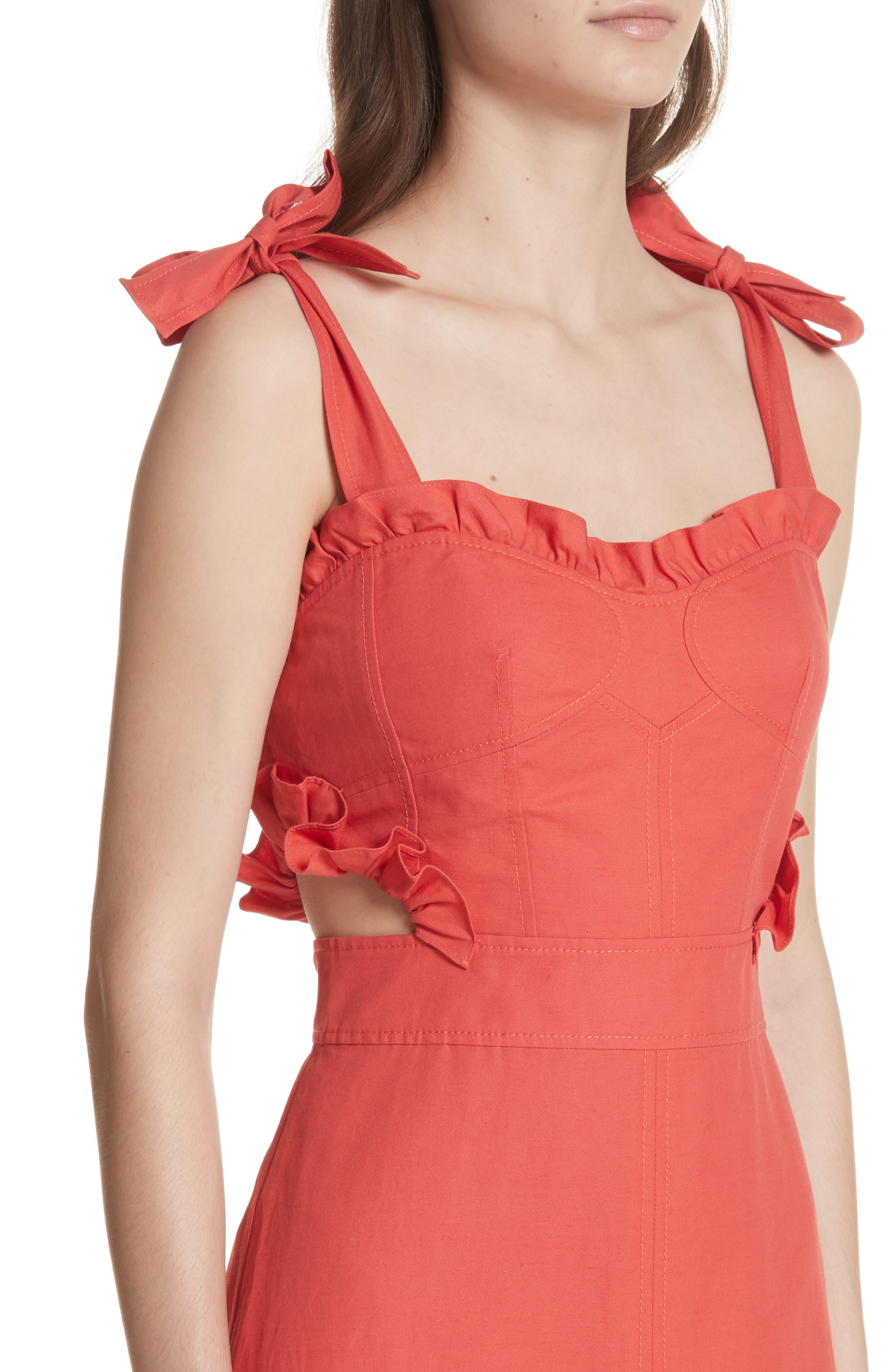 Sleeveless Ruffle Hem Dress,                             Alternate thumbnail 4, color,                             601