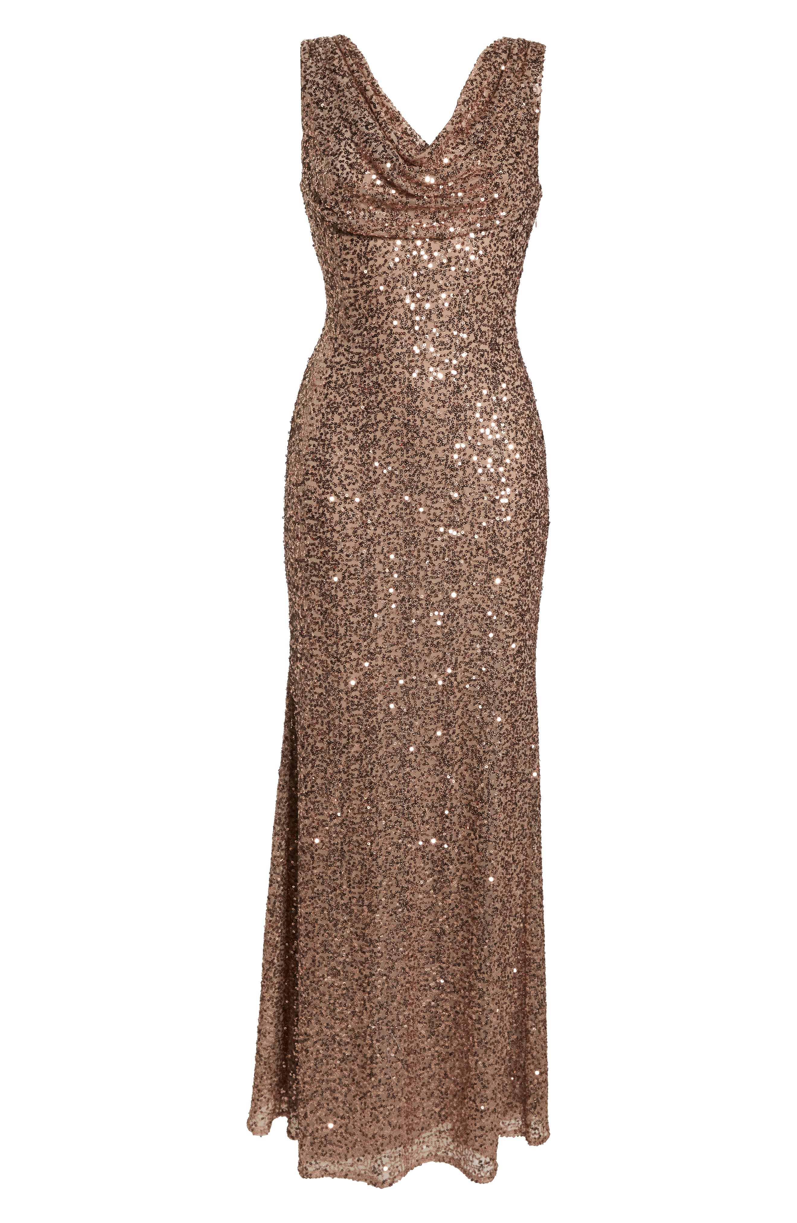 Cowl Neck Sequin Gown,                             Alternate thumbnail 7, color,                             ROSE GOLD
