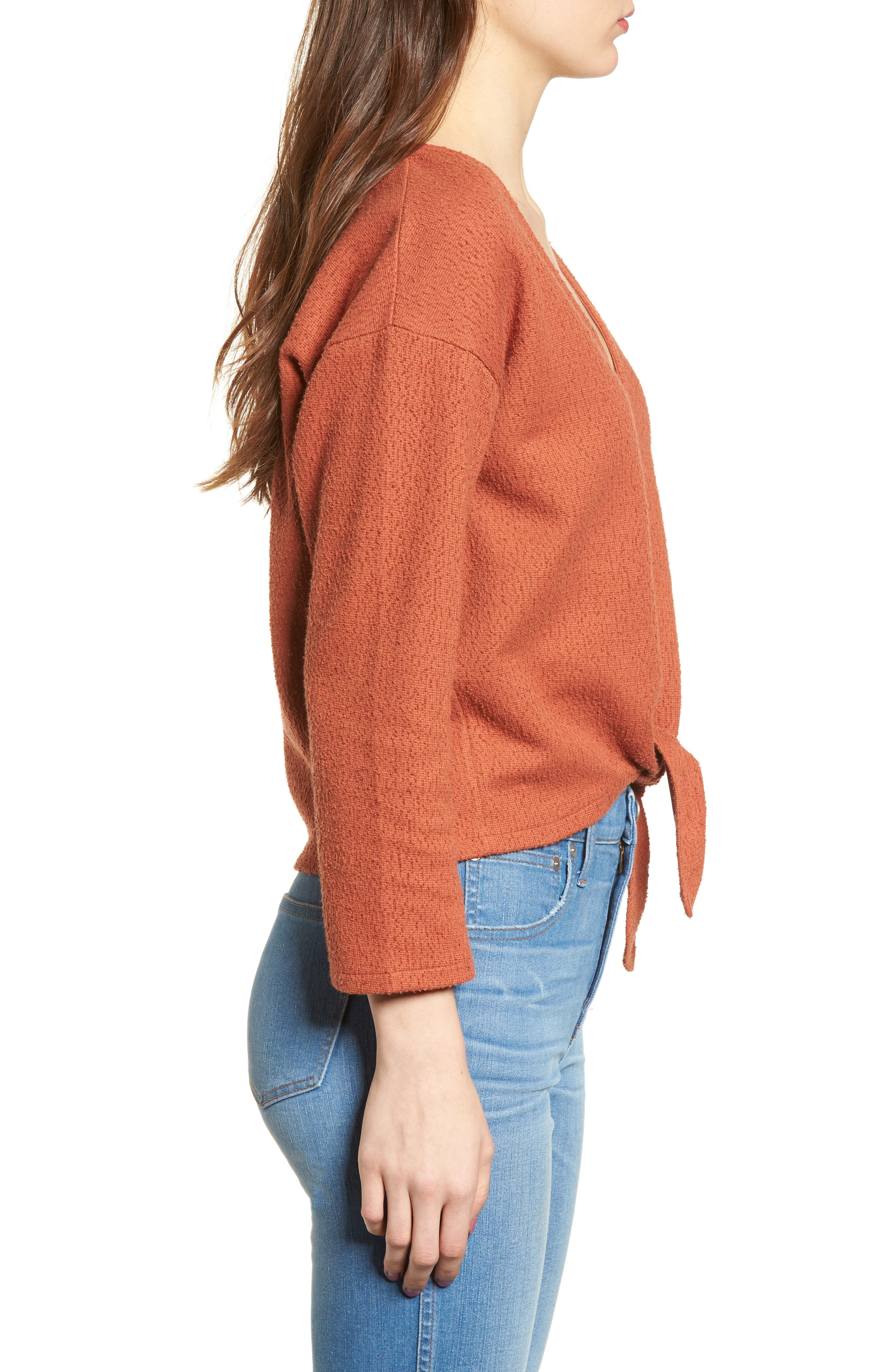 Textured Tie Front Top,                             Alternate thumbnail 3, color,                             AFTERGLOW RED