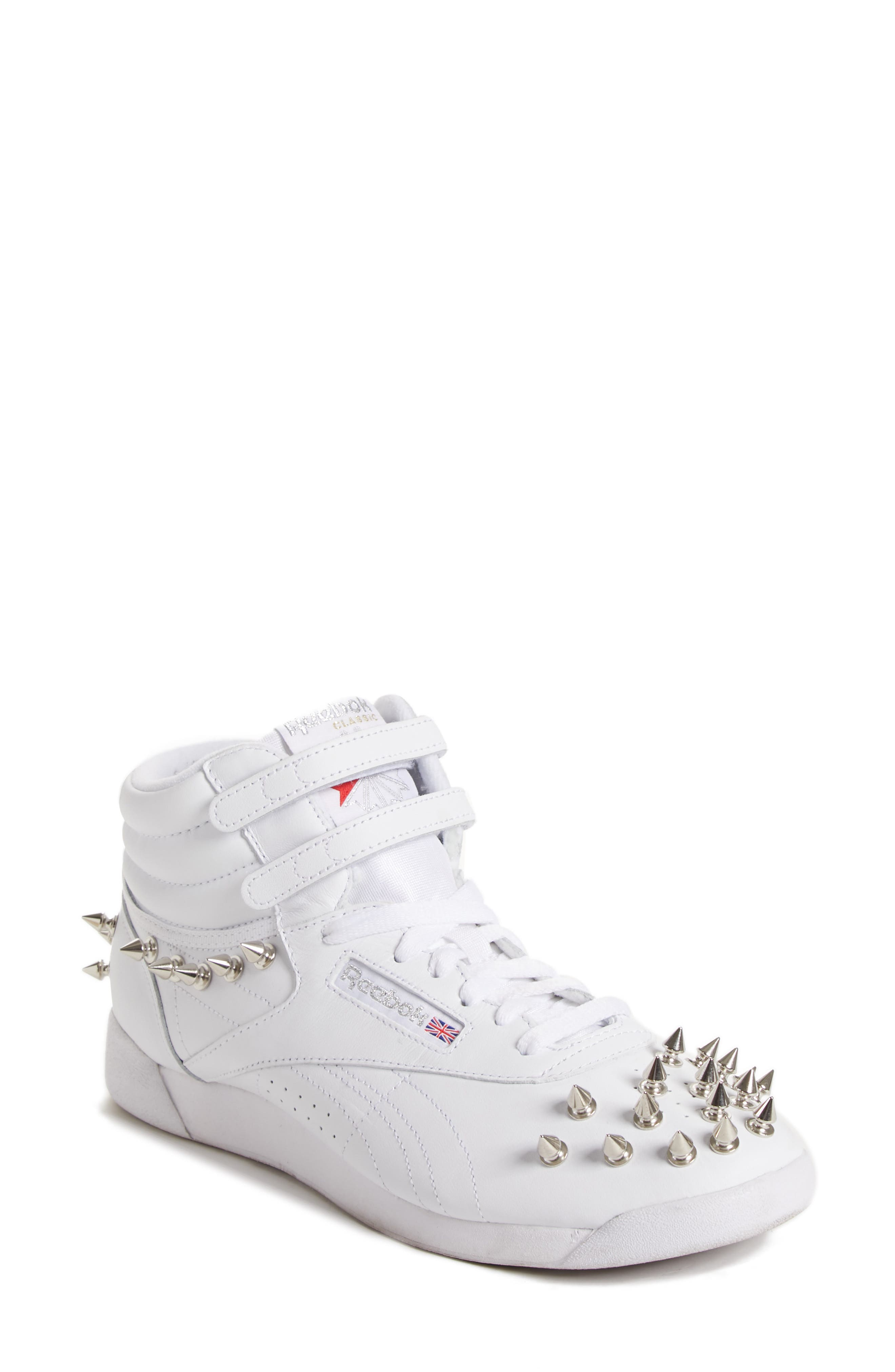 x Reebok Studded Sneaker,                             Main thumbnail 1, color,                             WHITE