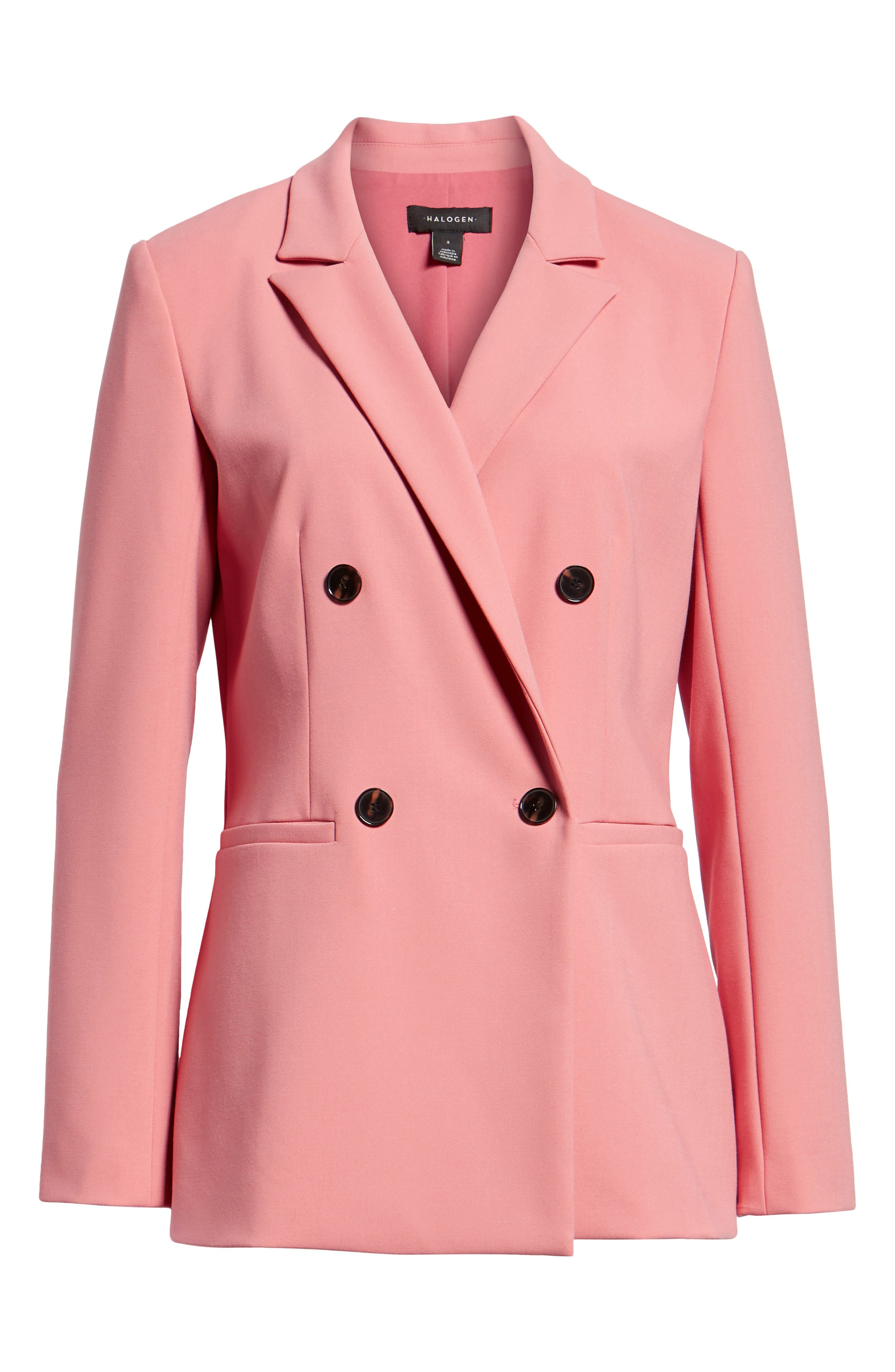 Double Breasted Blazer,                             Alternate thumbnail 6, color,                             CORAL MAUVE