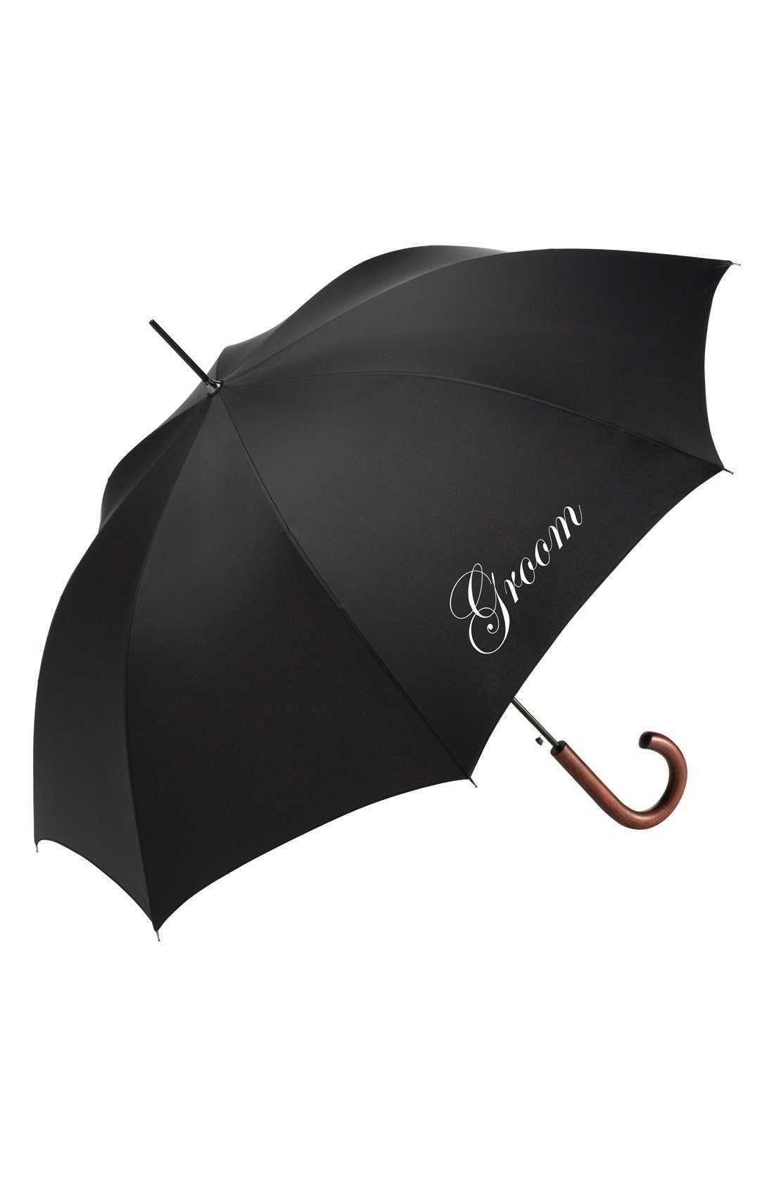 Wedding Day Auto Open Stick Umbrella,                             Main thumbnail 1, color,                             GROOM BLACK