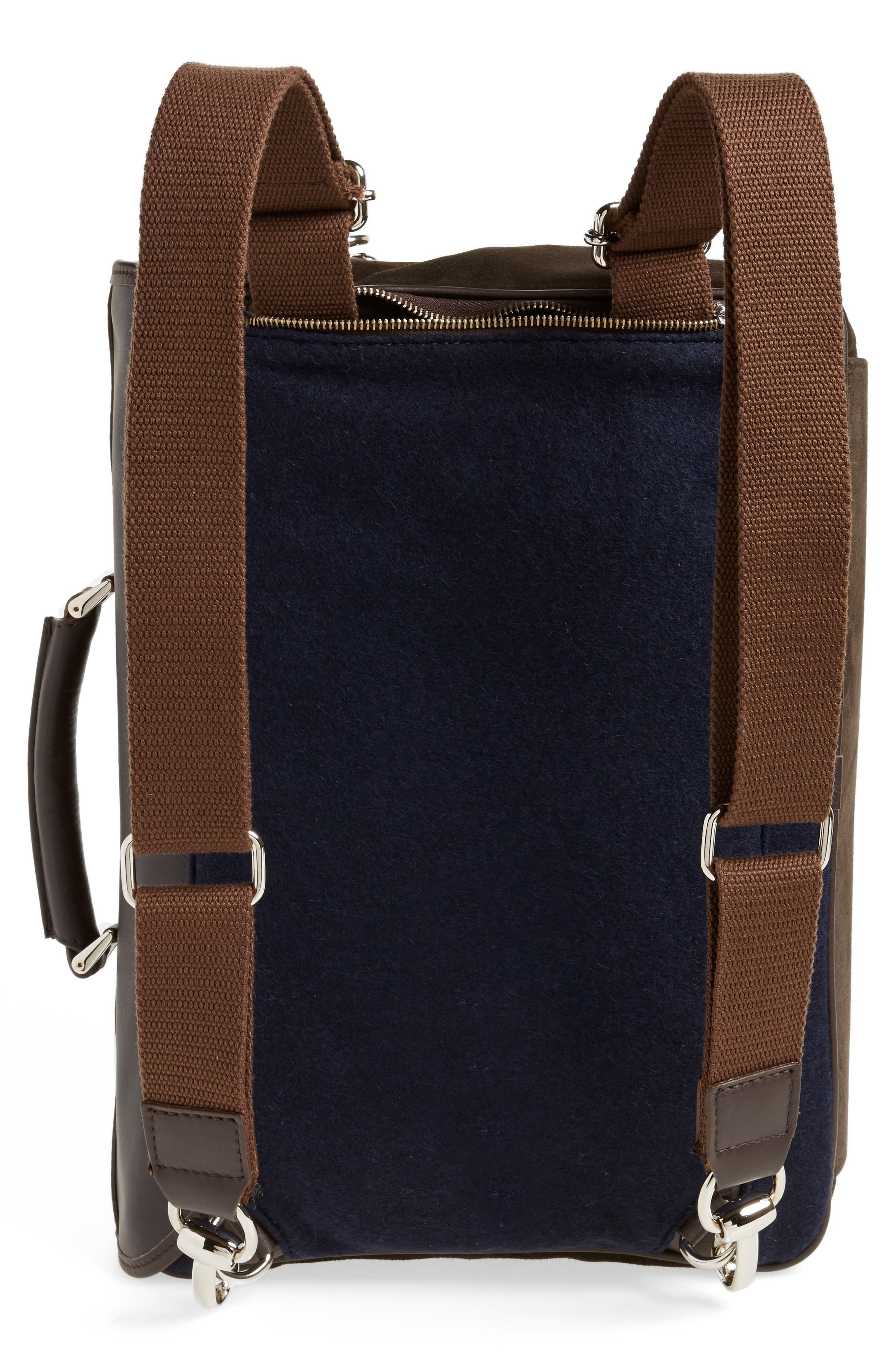 Leather & Wool Convertible Briefcase,                             Alternate thumbnail 3, color,                             205