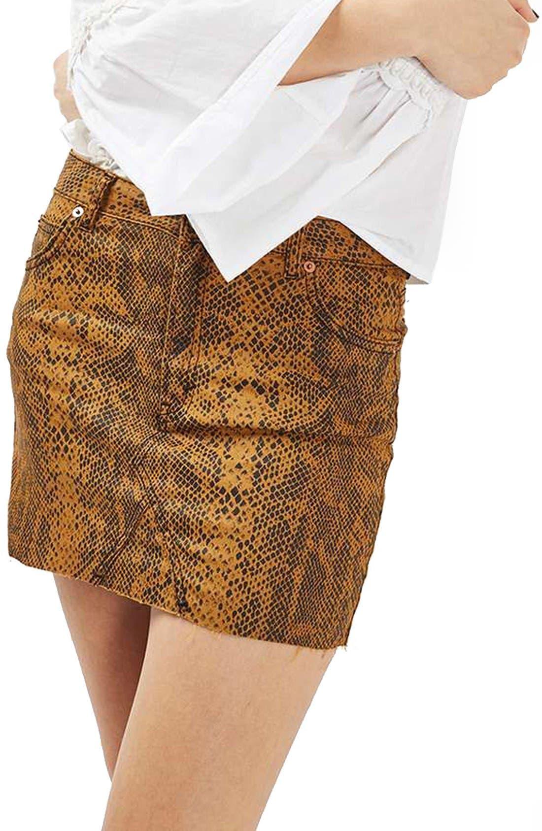 Snake Print Miniskirt,                             Main thumbnail 1, color,                             200