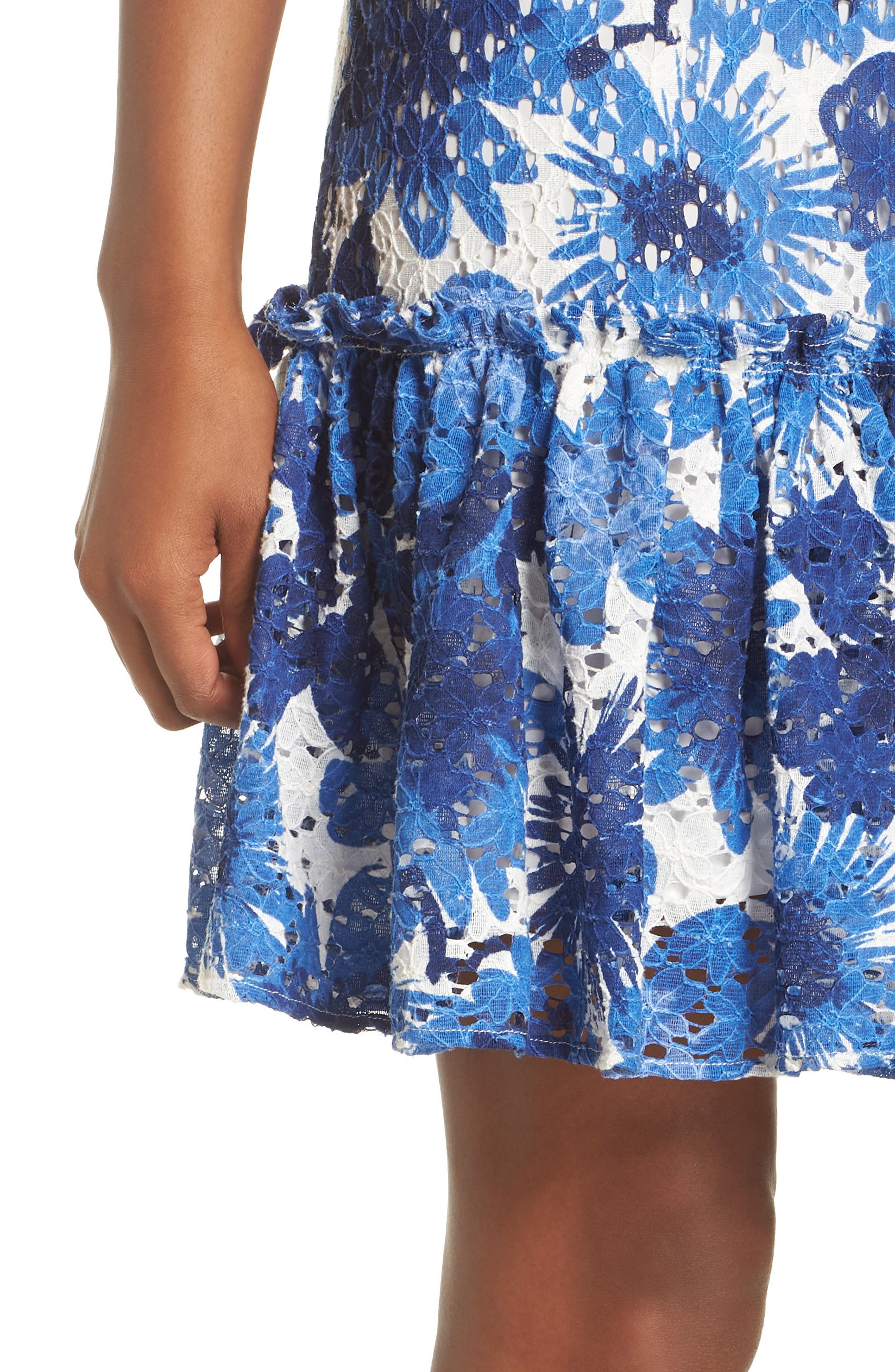 La Costa Print Ruffle Hem Lace Dress,                             Alternate thumbnail 4, color,                             MULTI