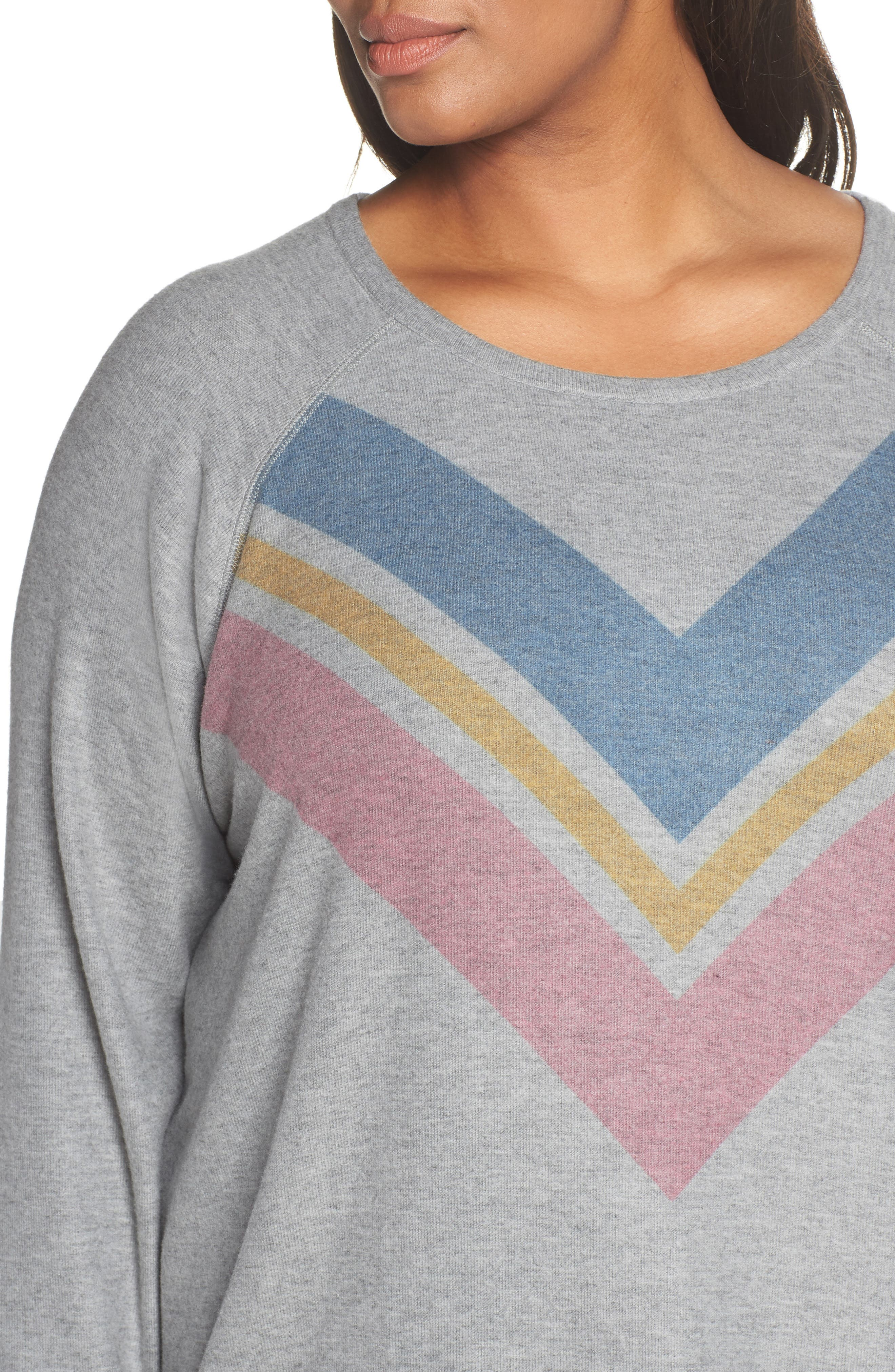 Lounge Essentials Chevron Pullover,                             Alternate thumbnail 4, color,                             HEATHER GREY