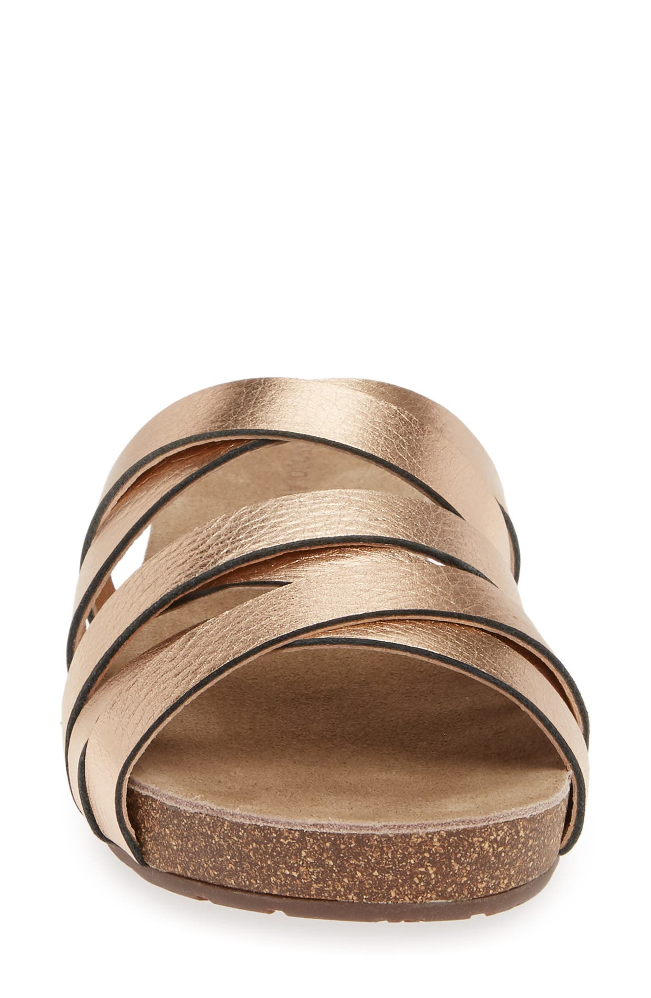 Slide Sandal,                             Alternate thumbnail 4, color,                             ROSE GOLD SUEDE