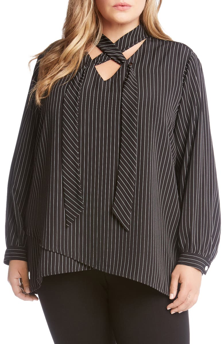7bcd83be15a Karen Kane Stripe Tie Neck Crossover Top (Plus Size)