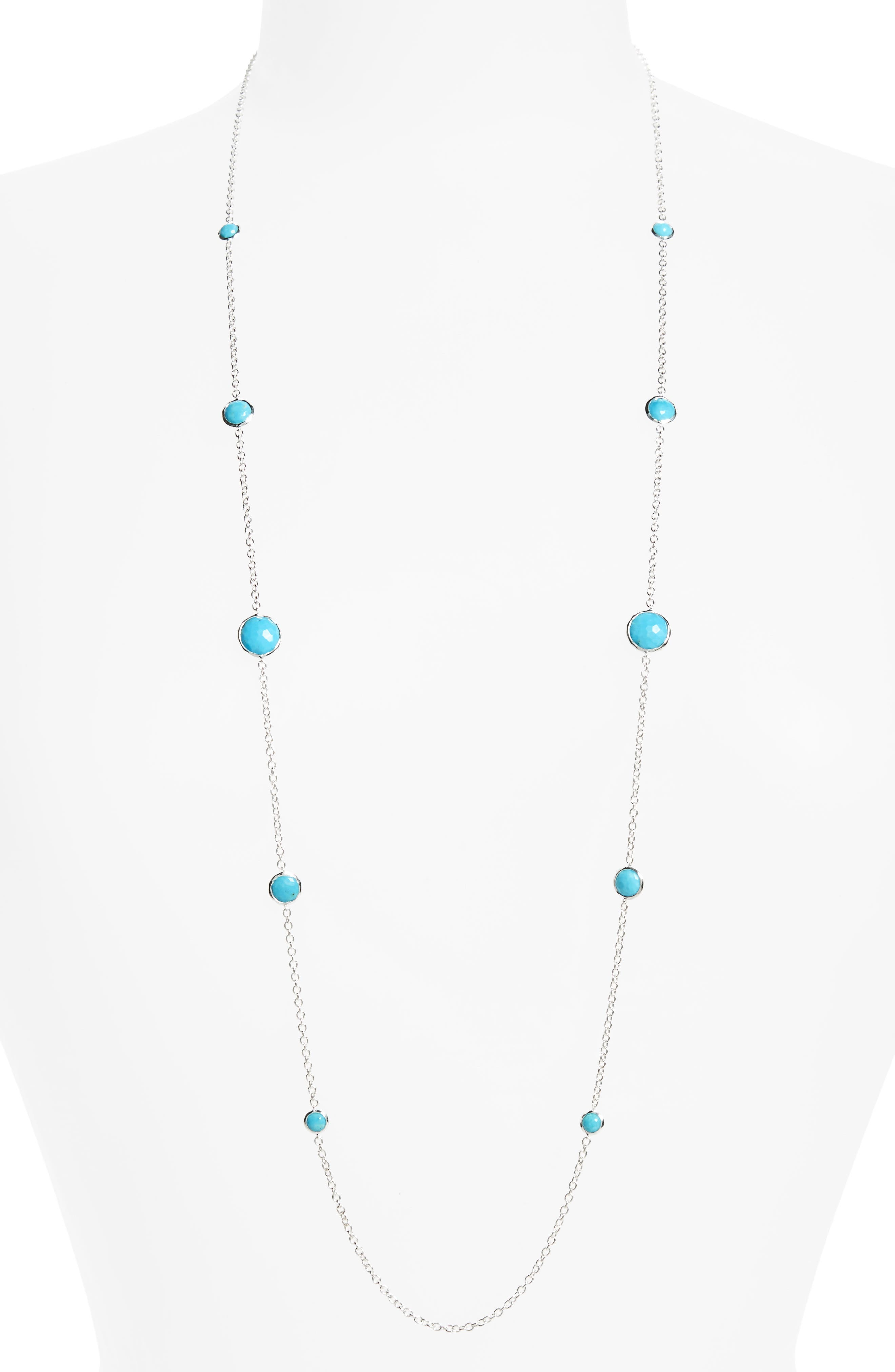 'Rock Candy - Lollipop' Long Necklace,                             Main thumbnail 1, color,                             SILVER - TURQUOISE