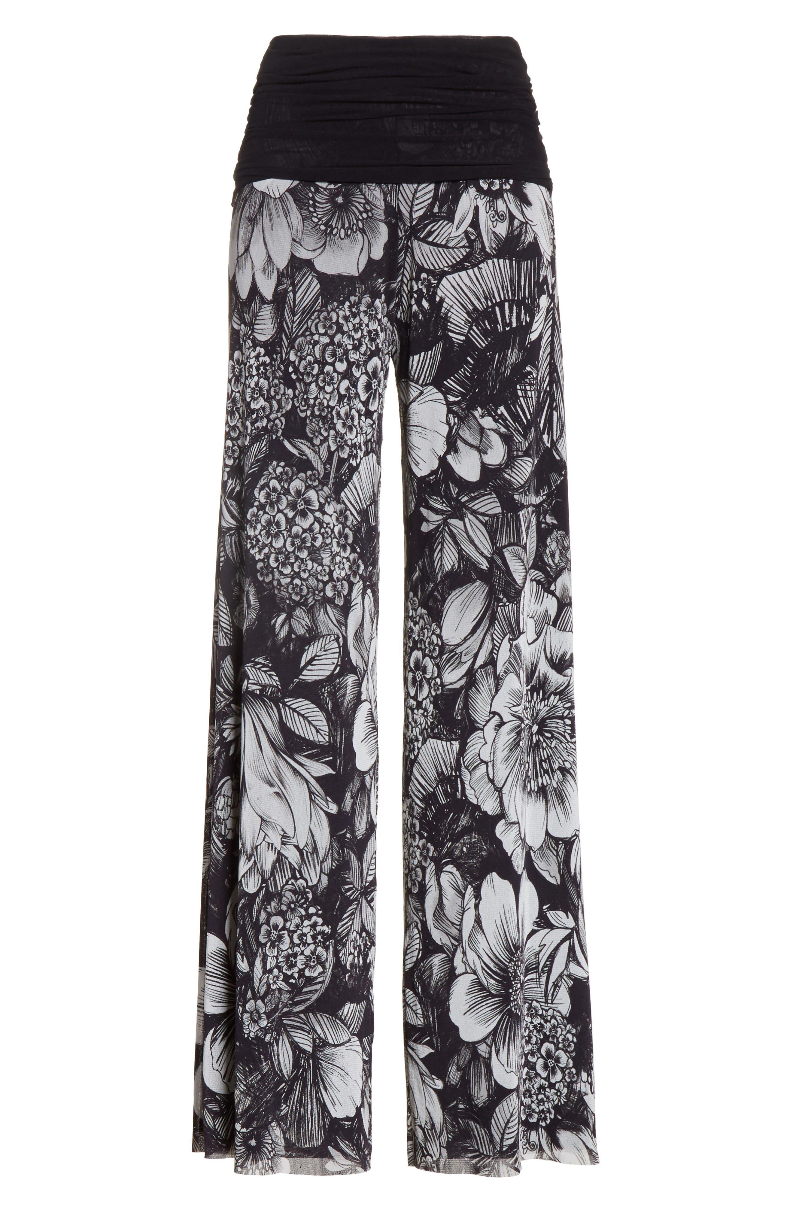 Print Tulle Wide Leg Pants,                             Alternate thumbnail 6, color,