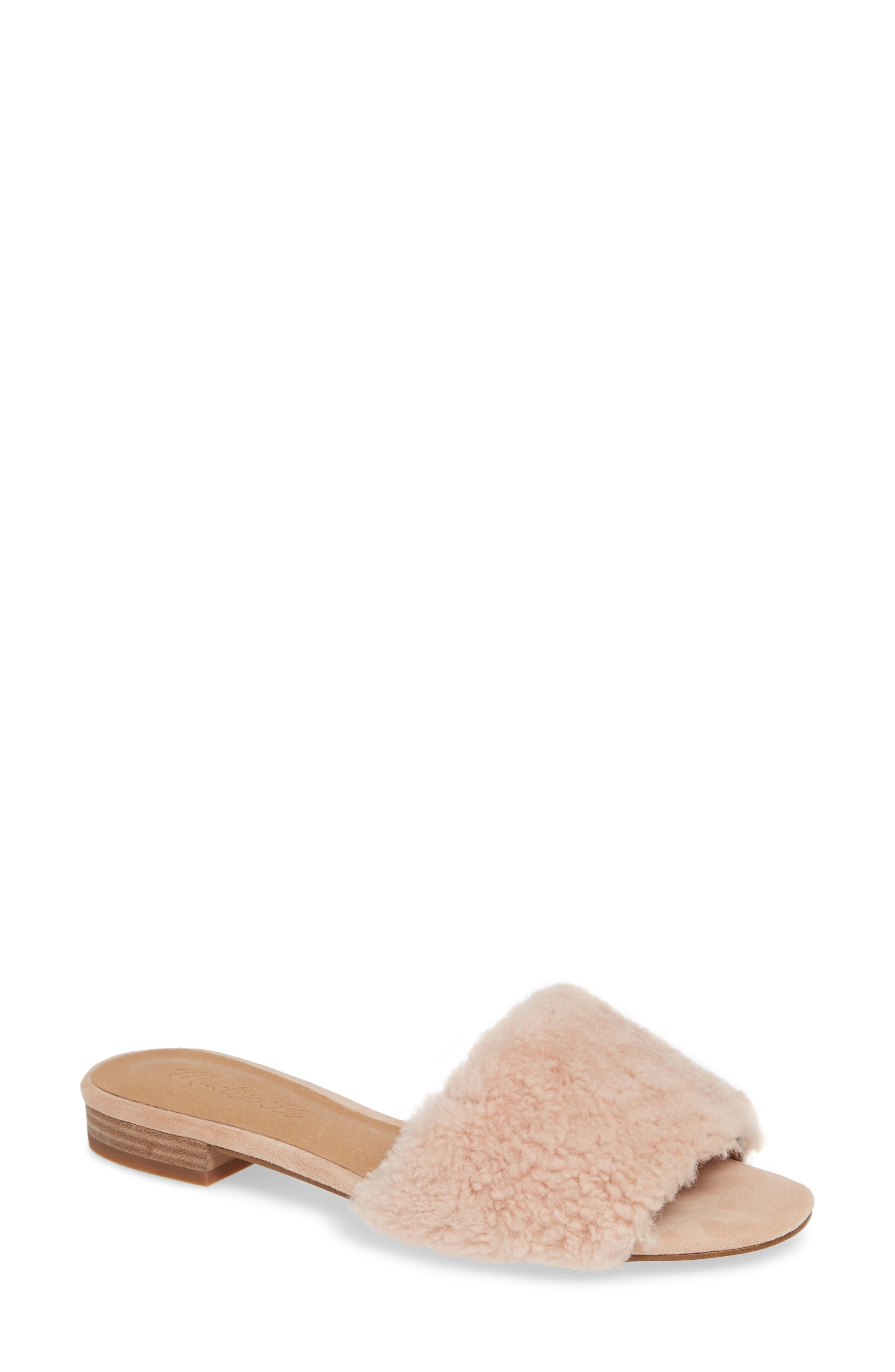 Madewell Jackson Genuine Shearling Slide Sandal, Pink