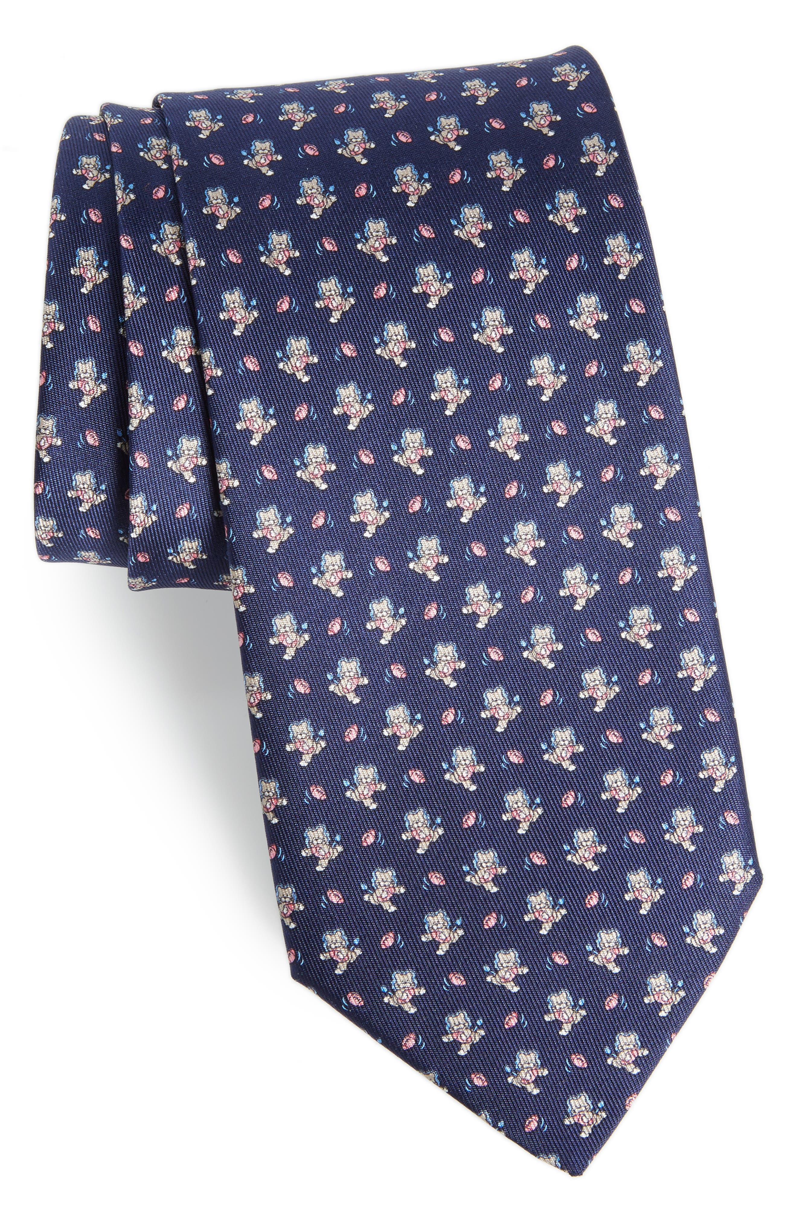 Ernesto Cat Print Silk Tie,                         Main,                         color, 491