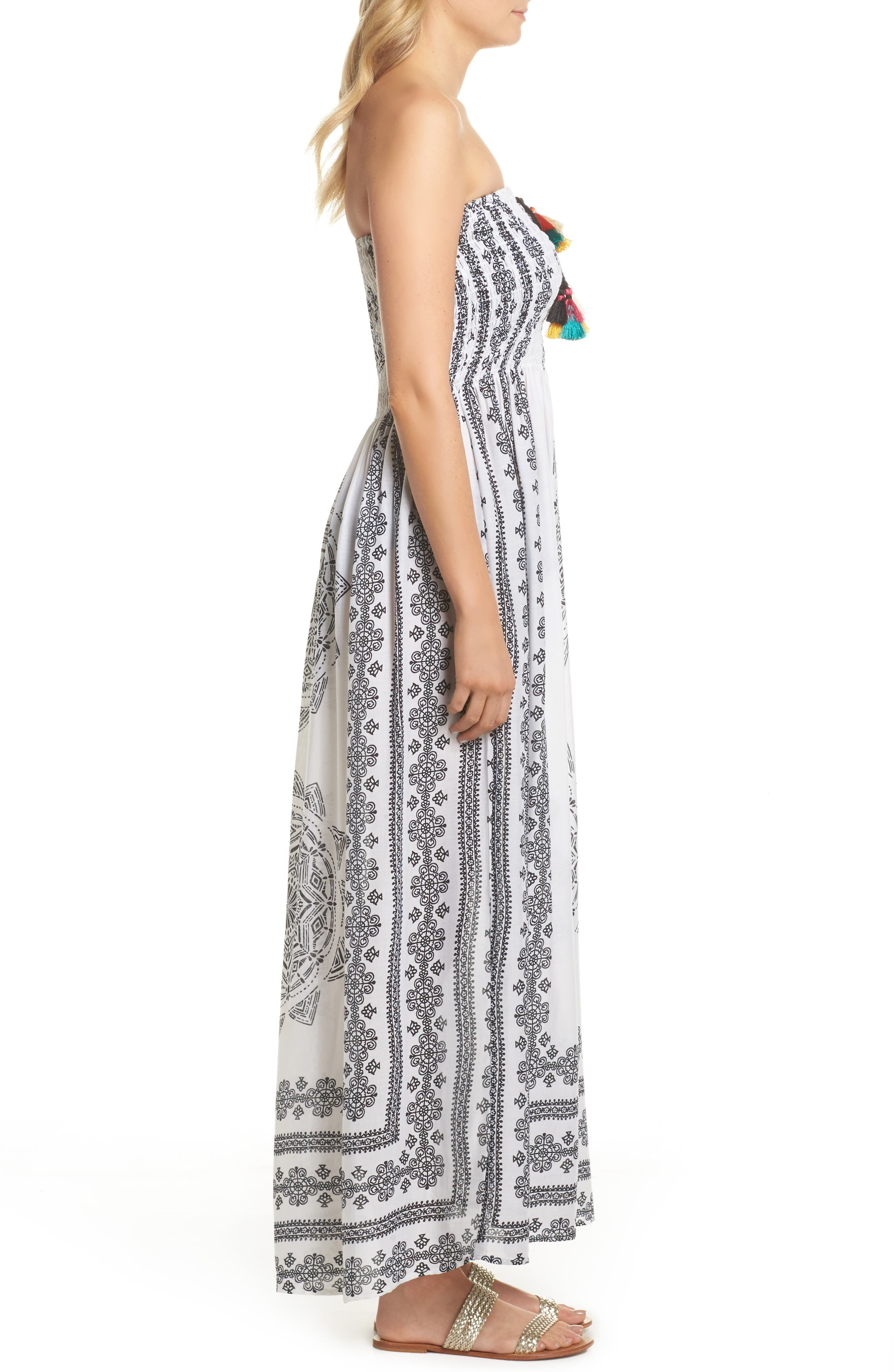 Smocked Cover-Up Maxi Dress,                             Alternate thumbnail 3, color,                             100