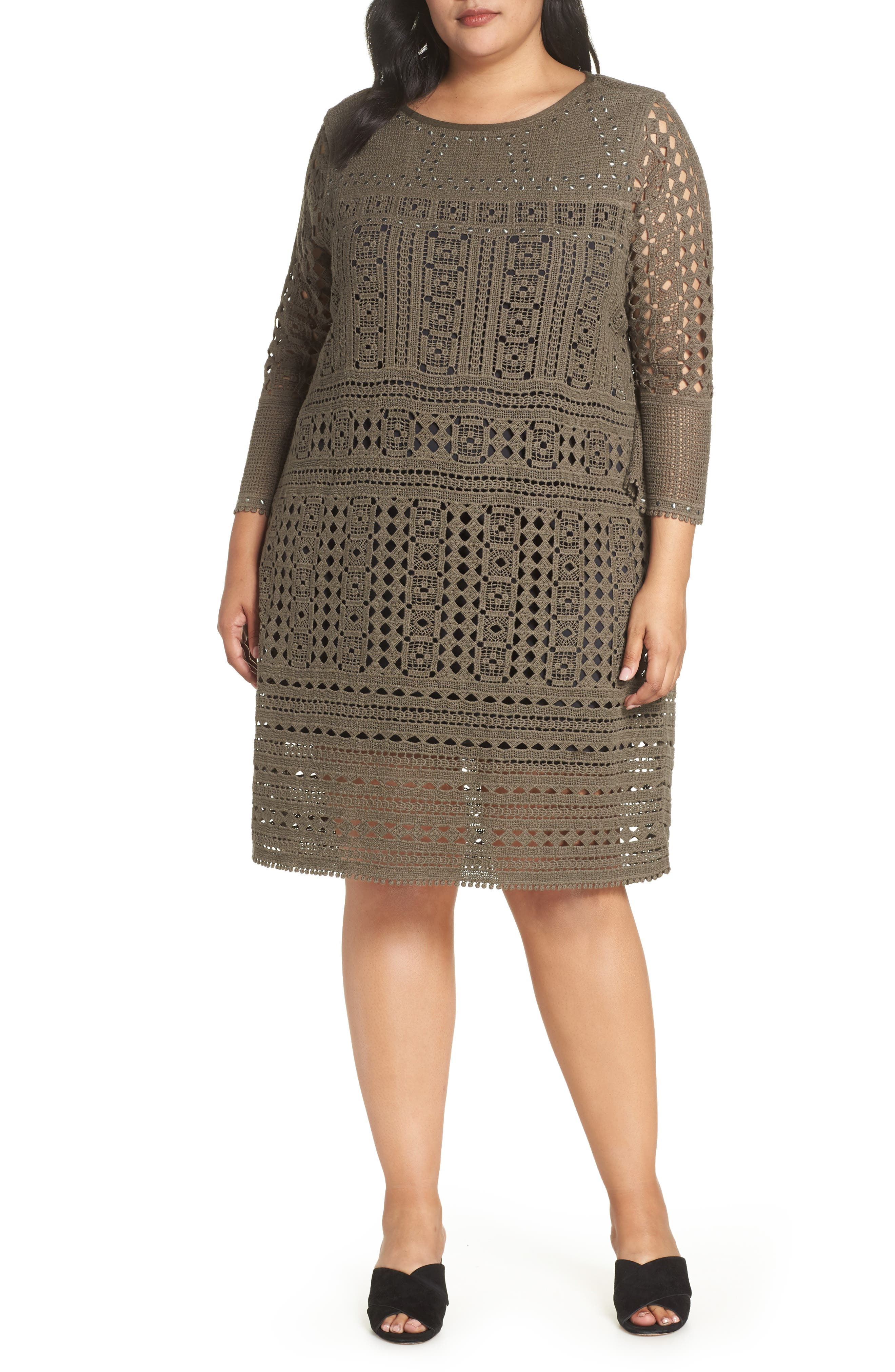 Lacey Stud Detail Lace Dress in Bark
