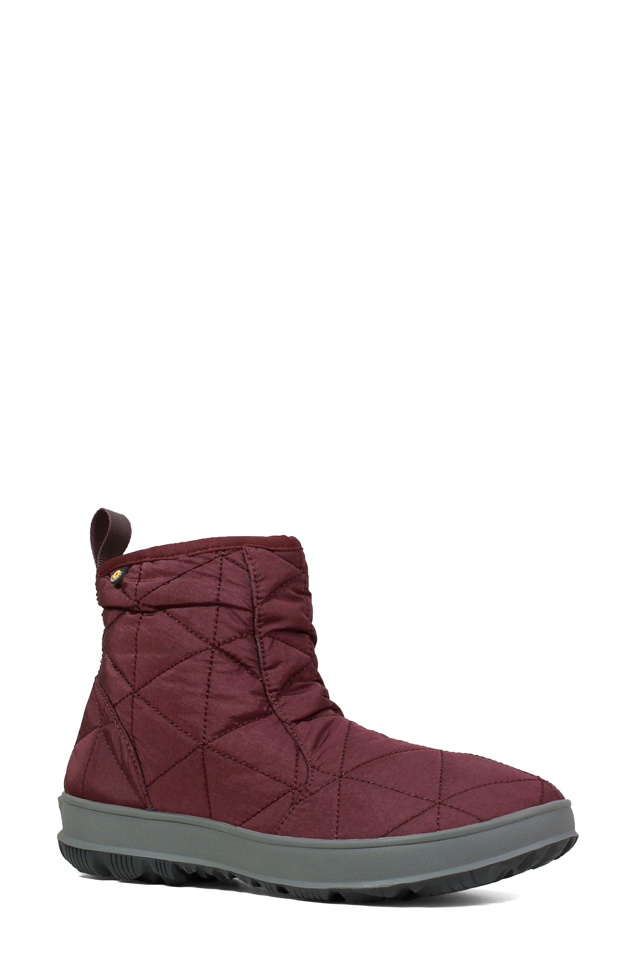 Bogs Snowday Waterproof Quilted Snow Boot, Burgundy