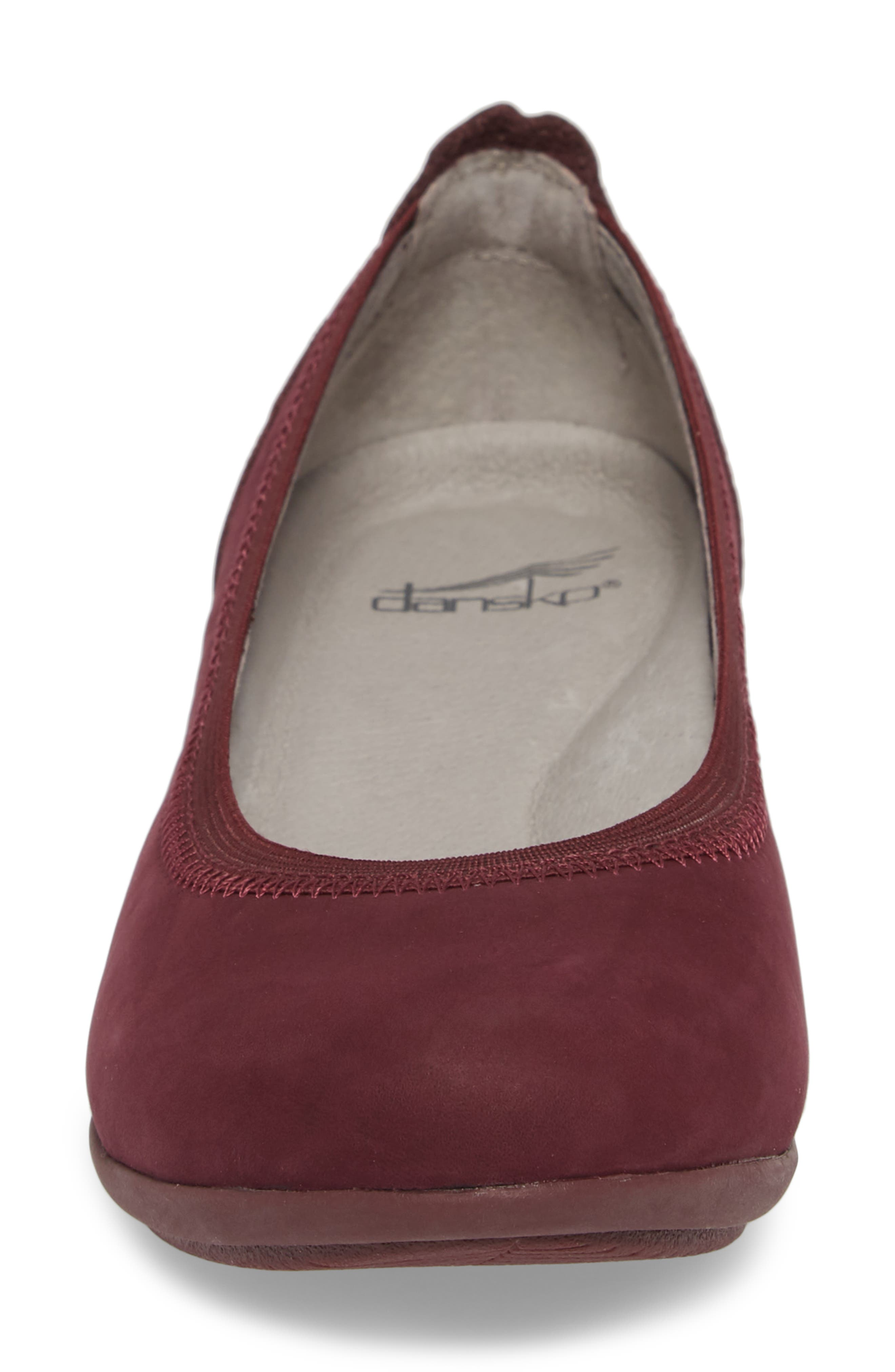 Kristen Ballet Flat,                             Alternate thumbnail 4, color,                             WINE MILLED NUBUCK