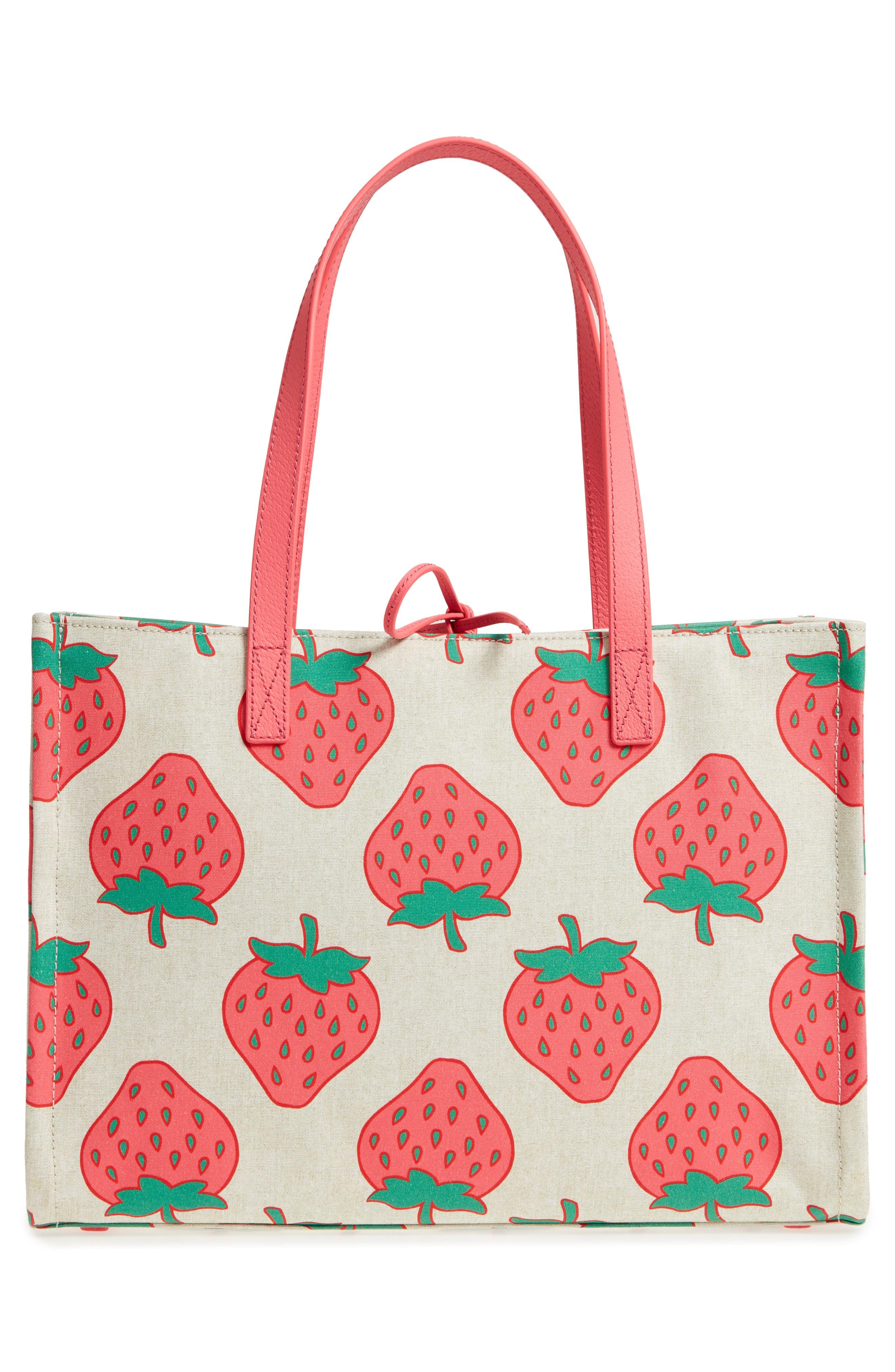 picnic perfect strawberry canvas mega sam canvas tote,                             Alternate thumbnail 3, color,                             650