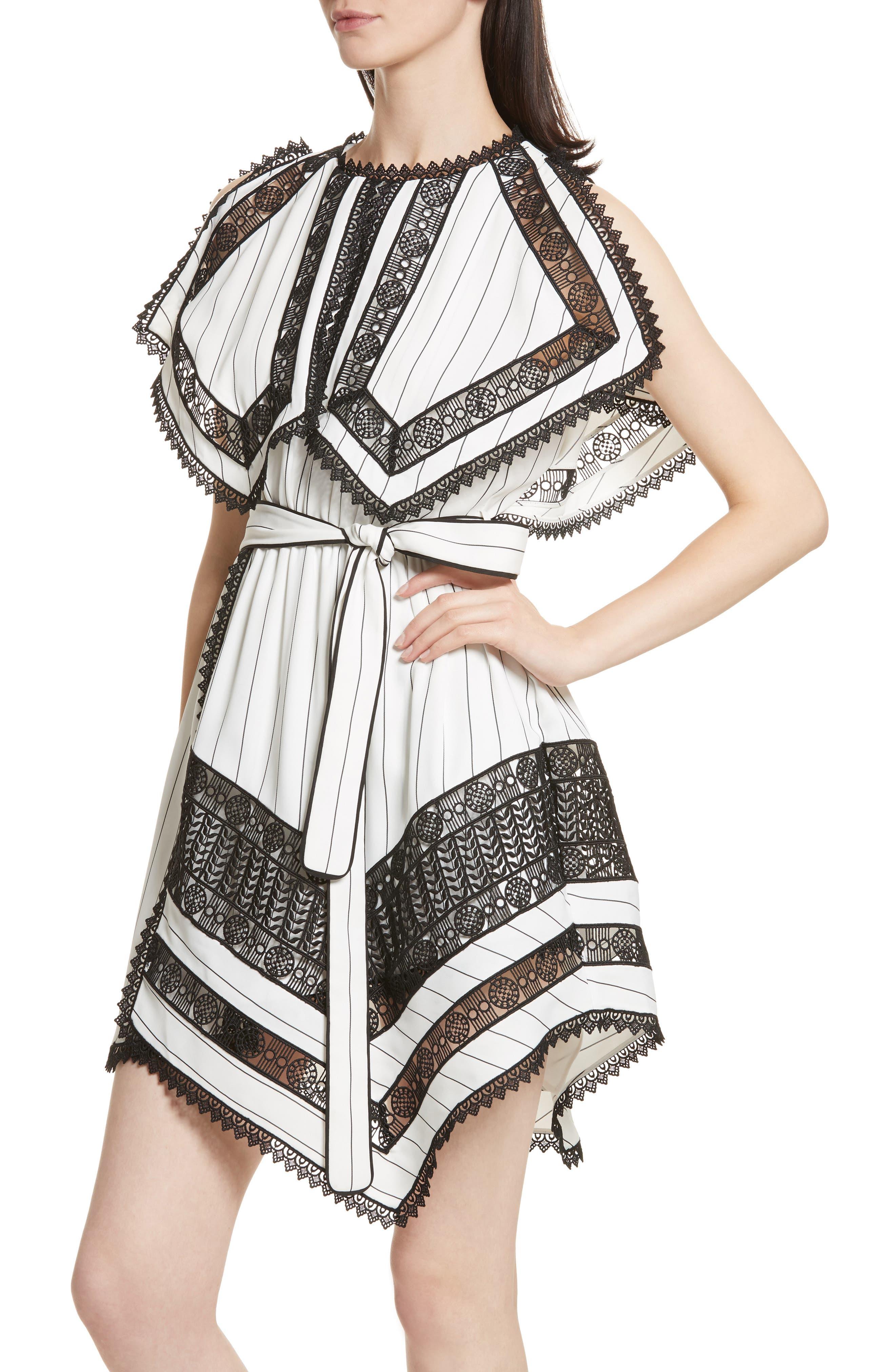 Lace Trim Handkerchief Hem Dress,                             Alternate thumbnail 4, color,