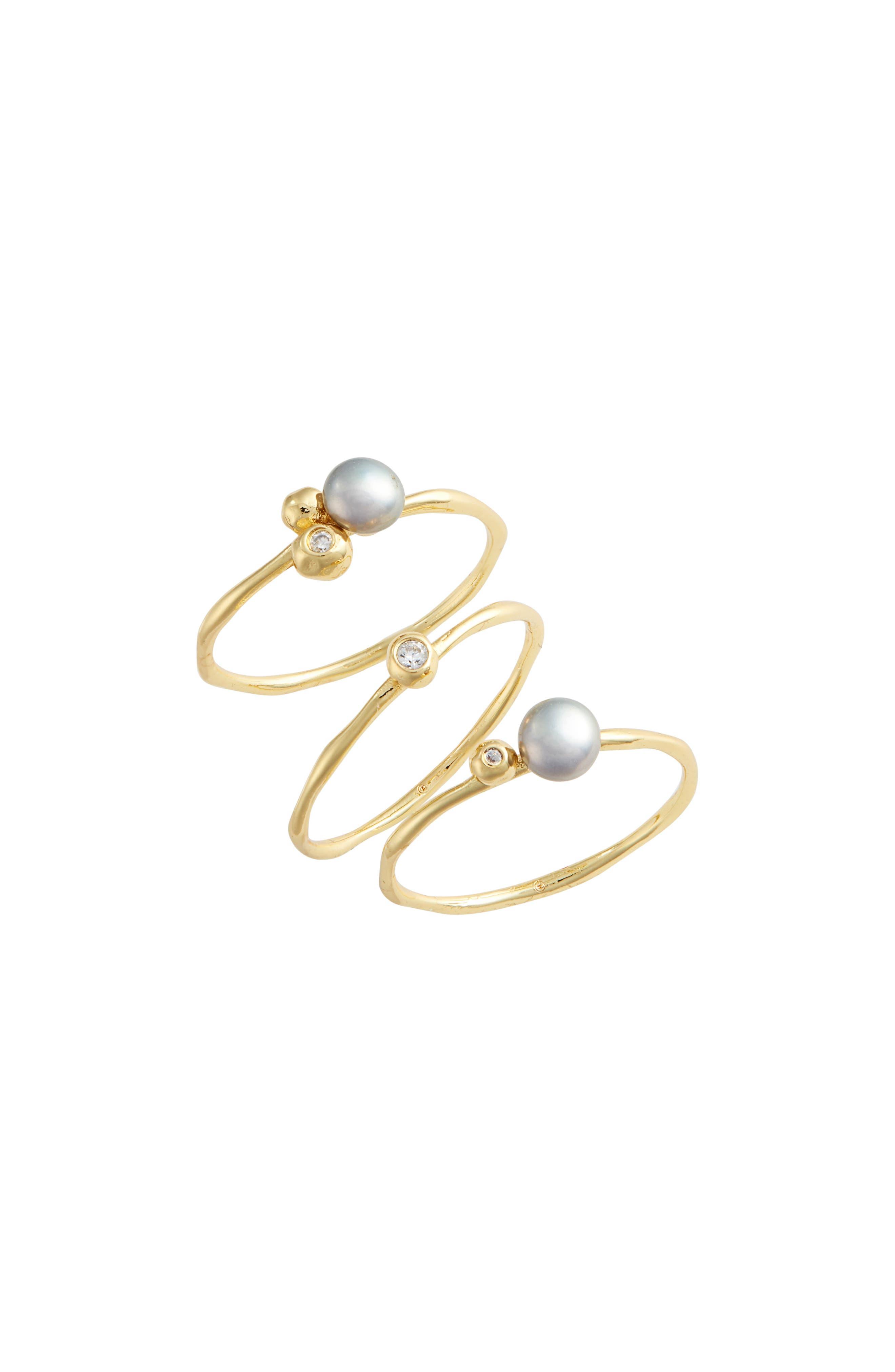 Vienna Shimmer Freshwater Pearl & Crystal Ring Set,                             Main thumbnail 1, color,                             GREY PEARL/ GOLD