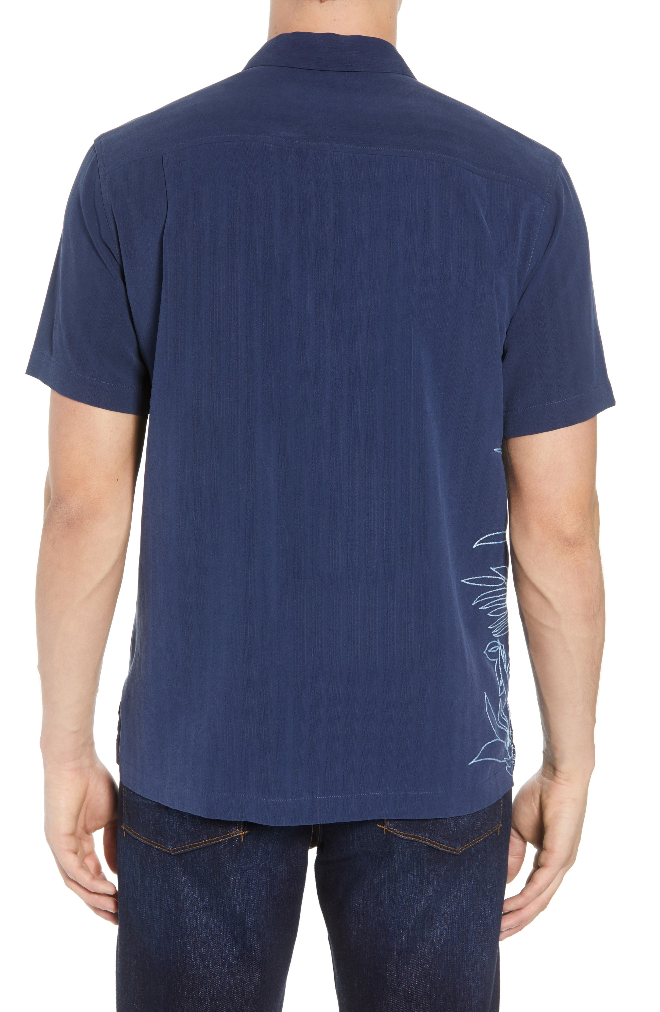 Playa Palmas Silk Camp Shirt,                             Alternate thumbnail 2, color,                             OCEAN DEEP