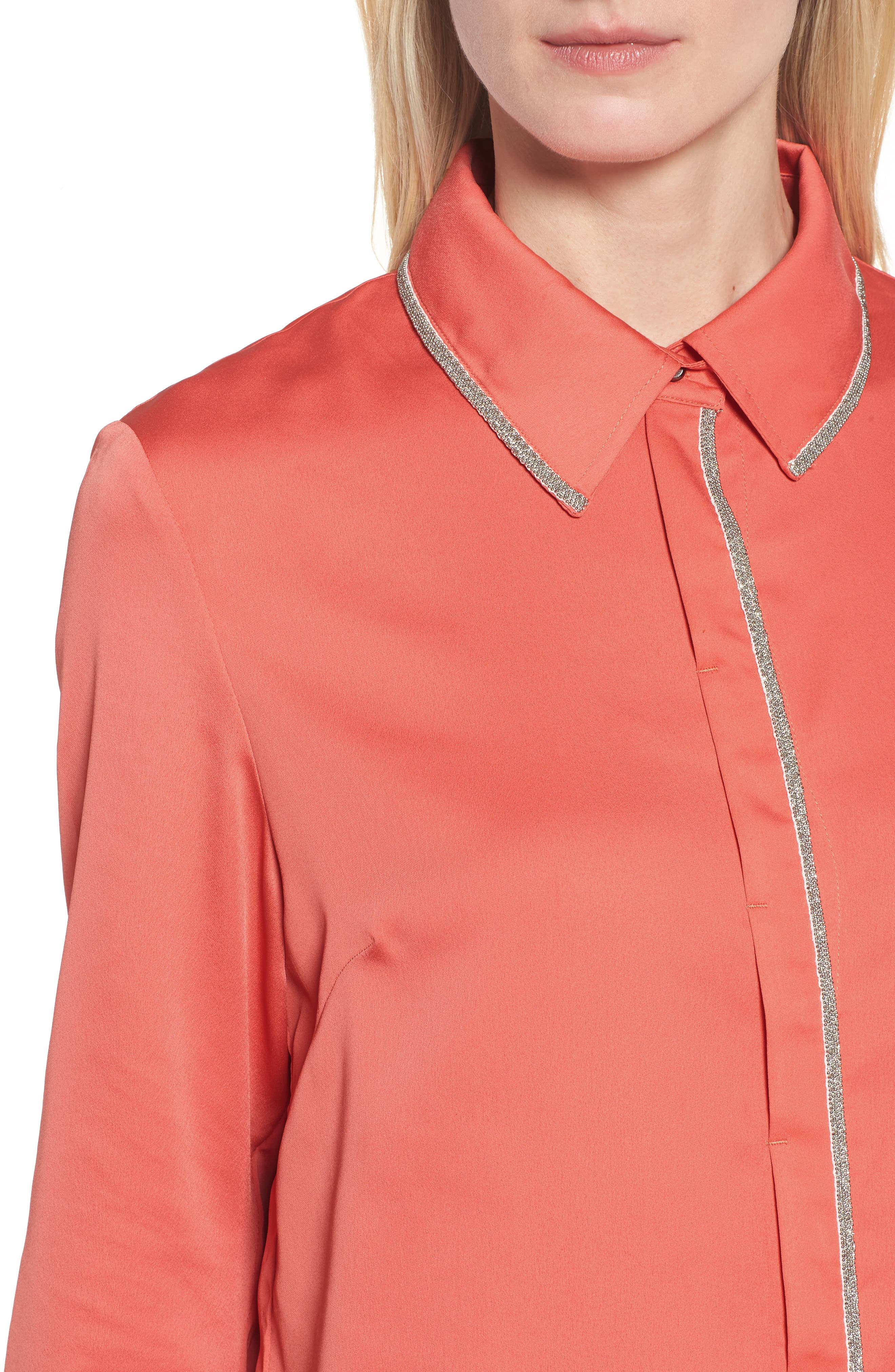 Tiered Tunic Shirt,                             Alternate thumbnail 4, color,                             DAYLILY