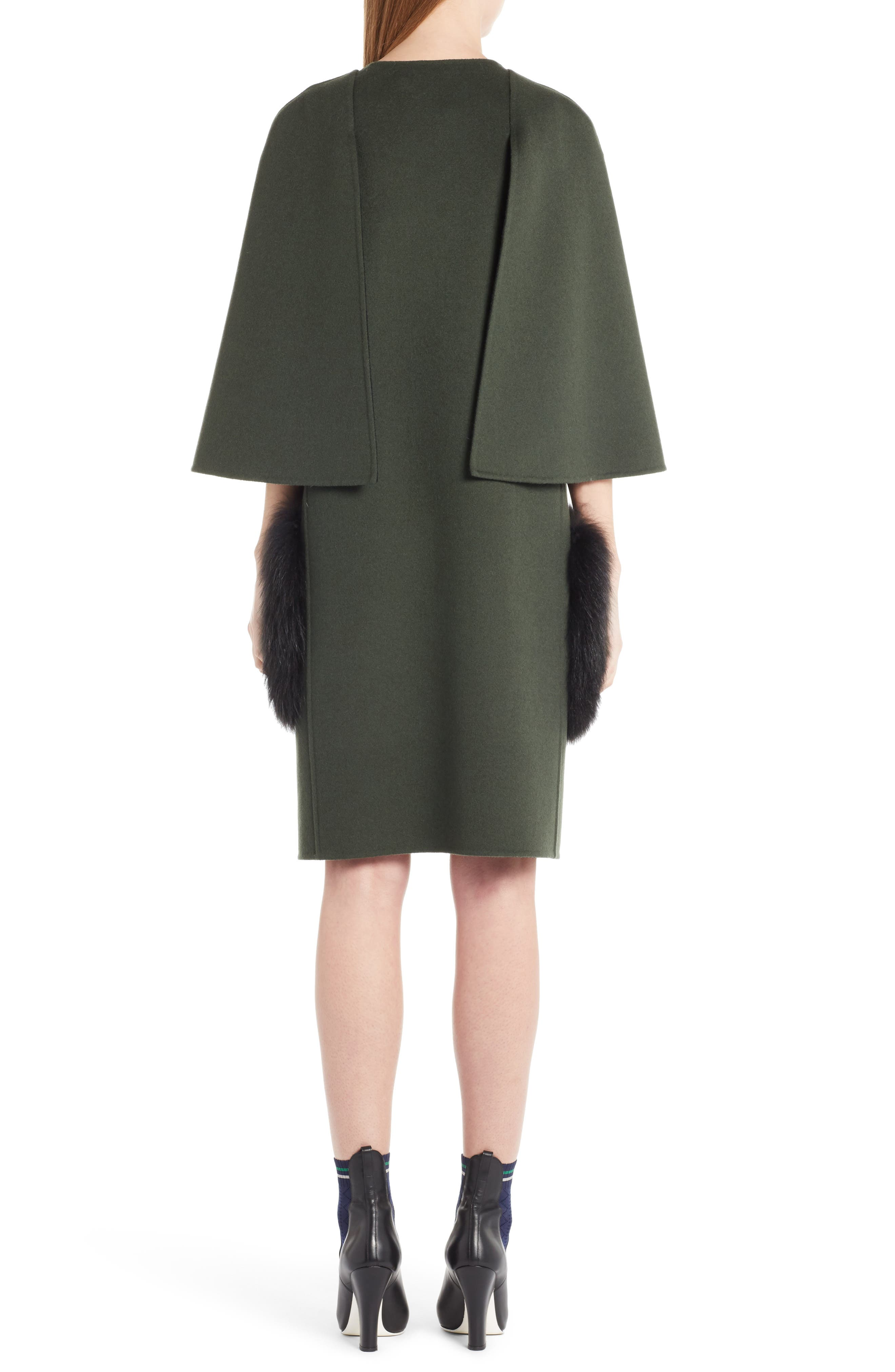 Wool Cape Coat with Genuine Fox Fur Pockets,                             Alternate thumbnail 2, color,