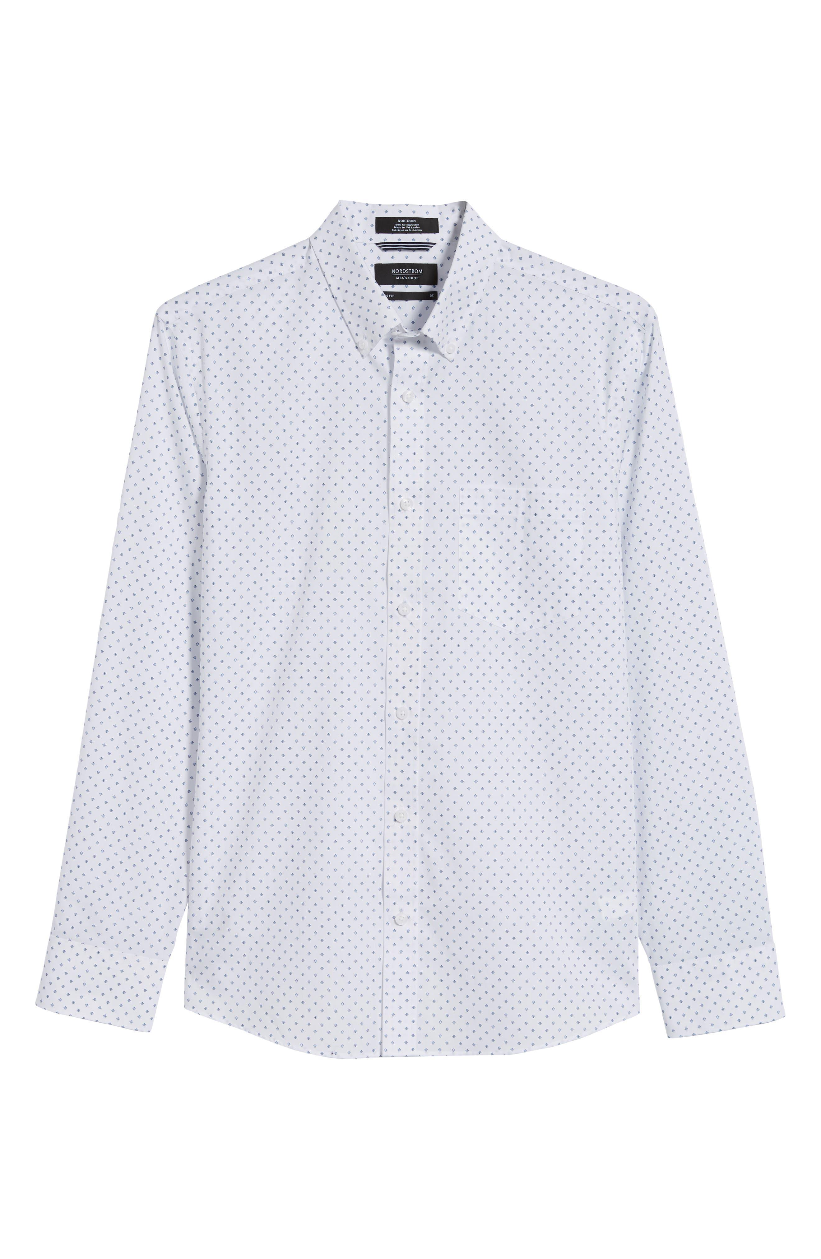 NORDSTROM MEN'S SHOP,                             Slim Fit Non-Iron Geo Print Sport Shirt,                             Alternate thumbnail 5, color,                             100