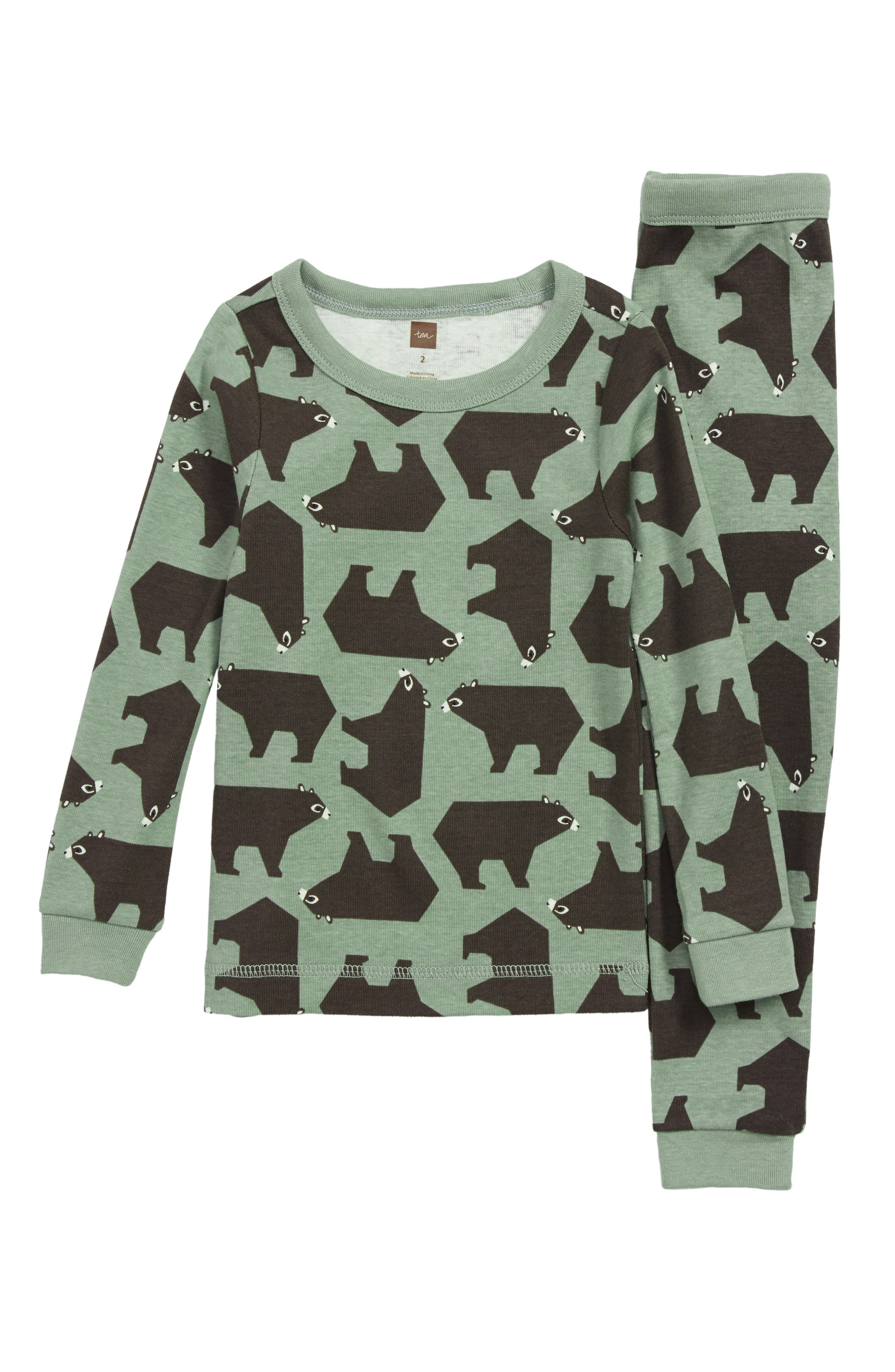 Fitted Two-Piece Pajamas,                         Main,                         color, BROWN BEAR BUNCH