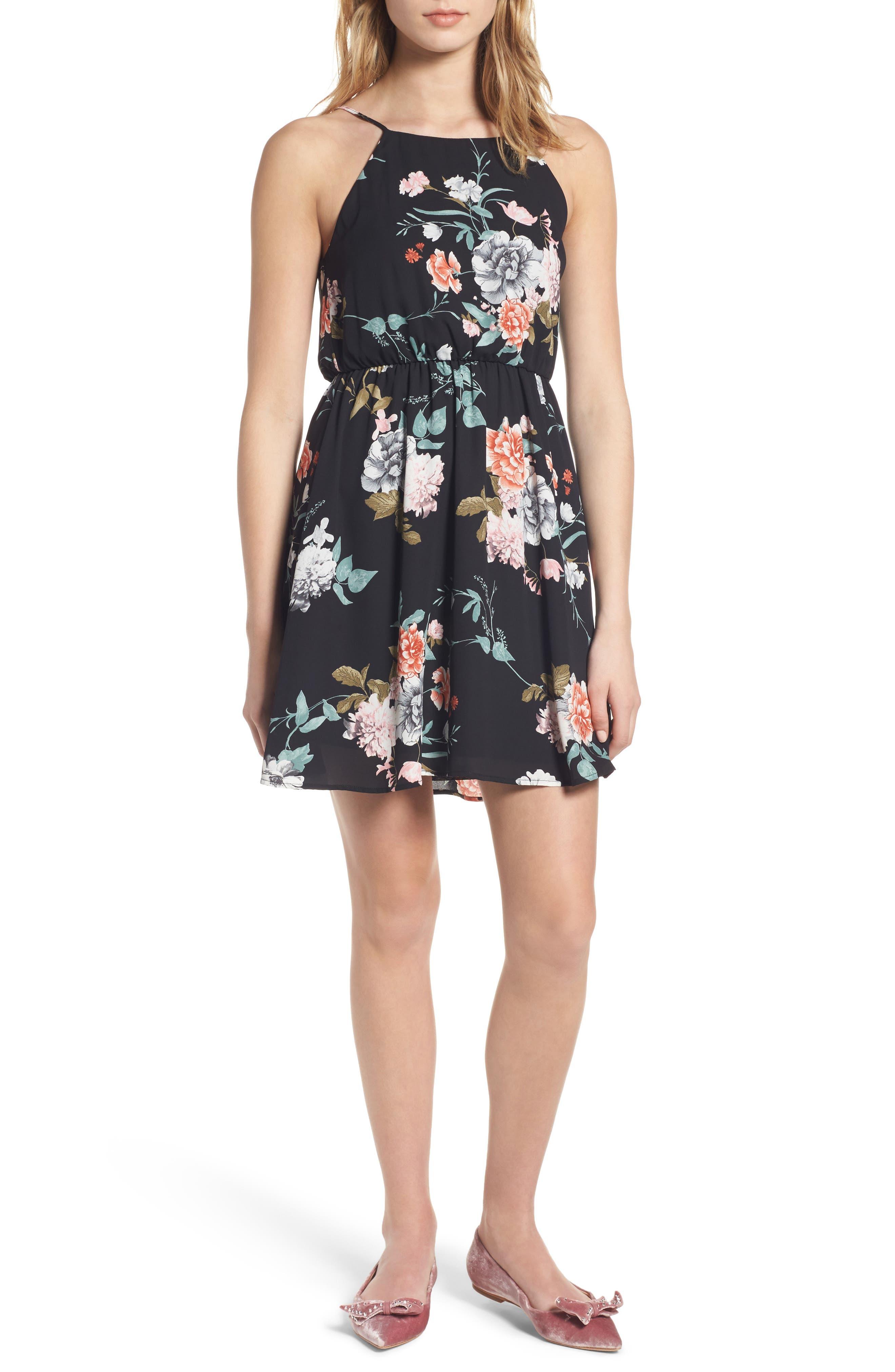 Back Tie Blouson Dress,                         Main,                         color, 001