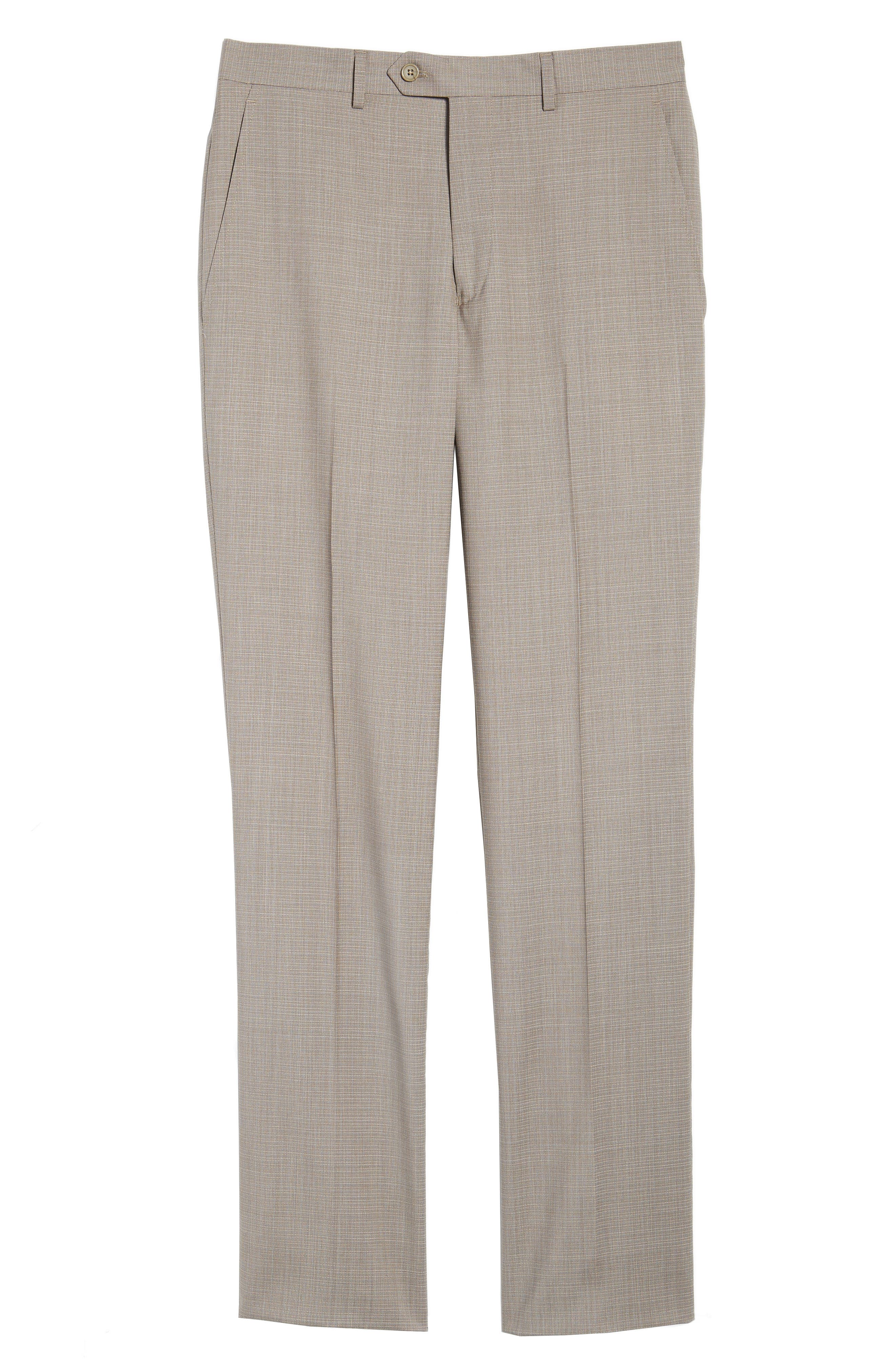 Flat Front Check Wool Trousers,                             Alternate thumbnail 6, color,                             277