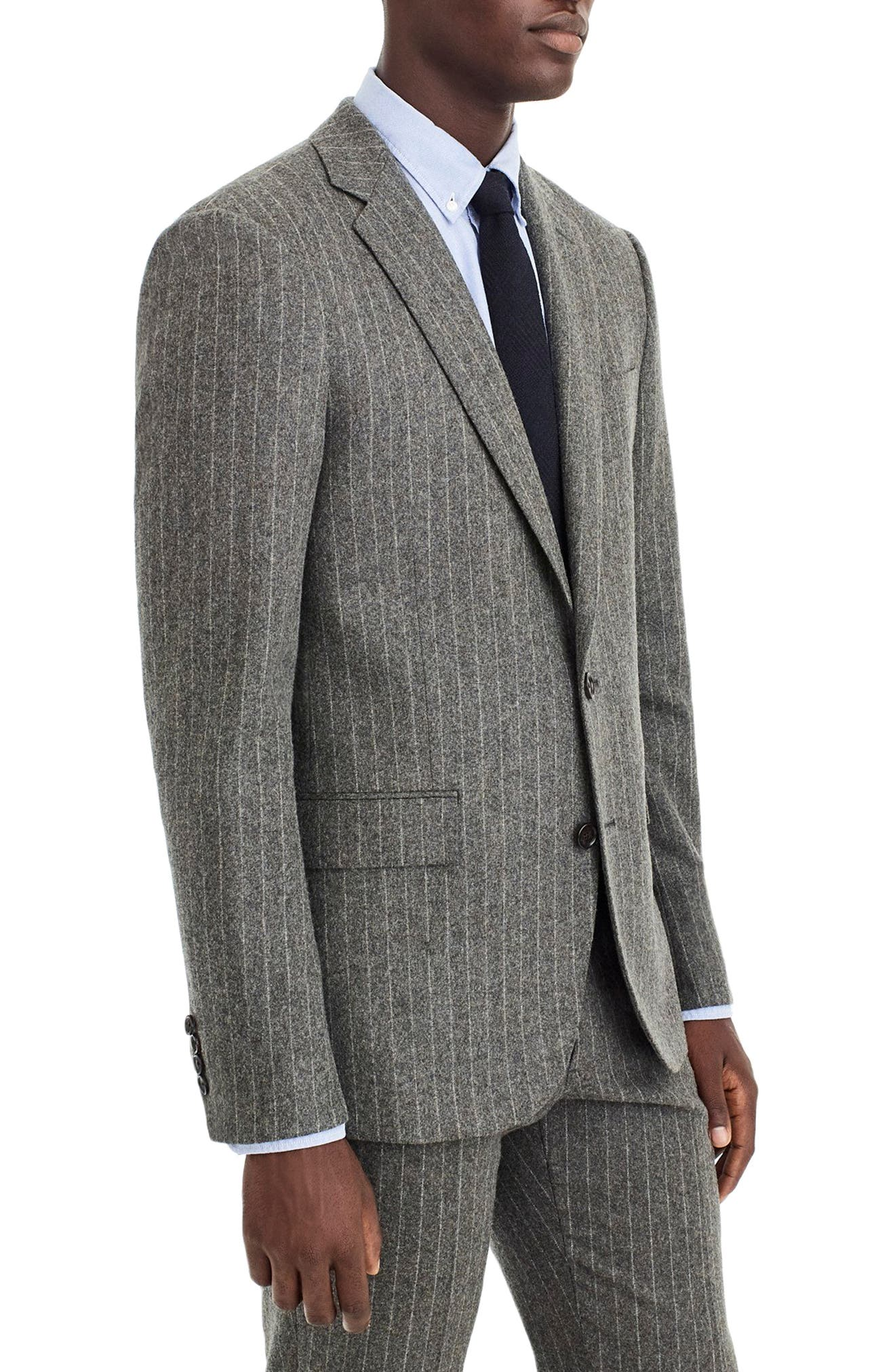 Ludlow Slim Fit Chalk Stripe Wool Blend Suit Jacket,                             Alternate thumbnail 3, color,                             LIGHT CHARCOAL CHALK STRIPE