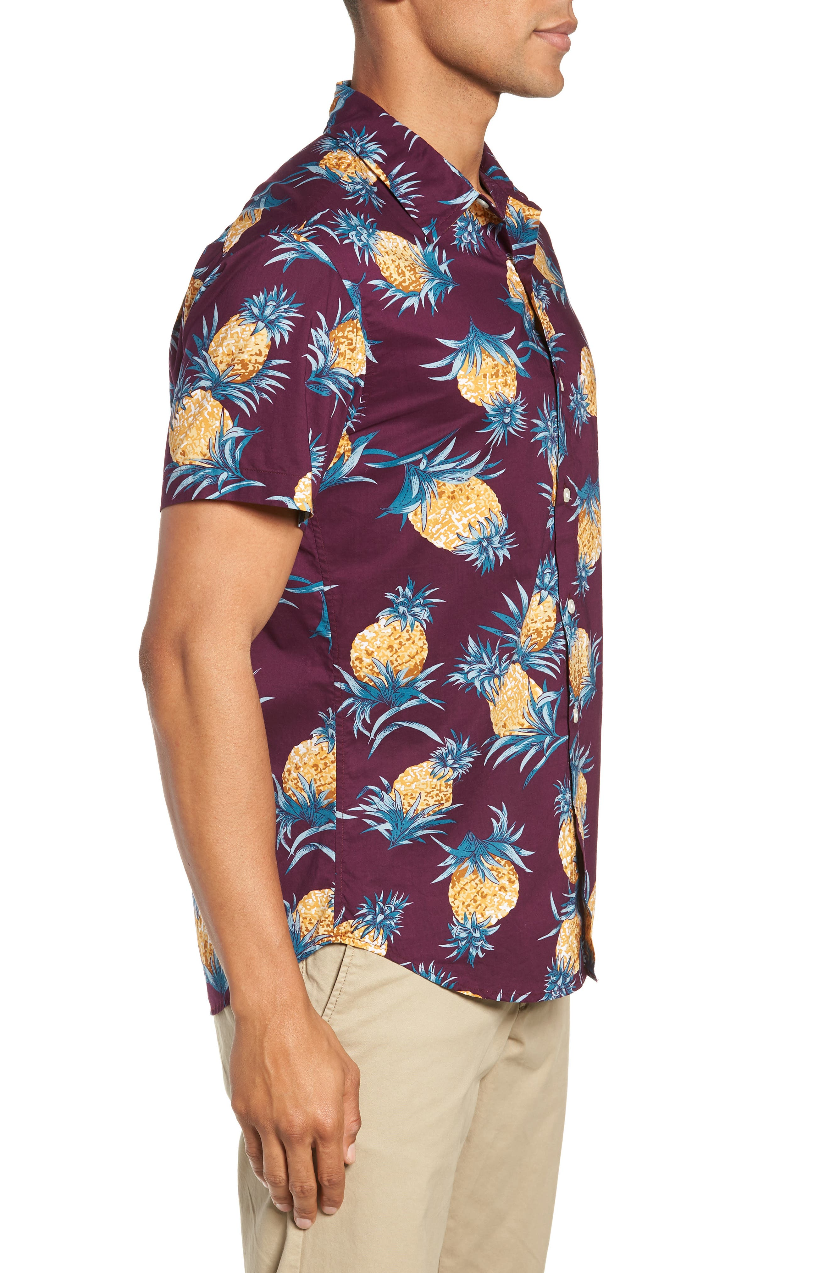 Riviera Slim Fit Pineapple Print Sport Shirt,                             Alternate thumbnail 4, color,                             500