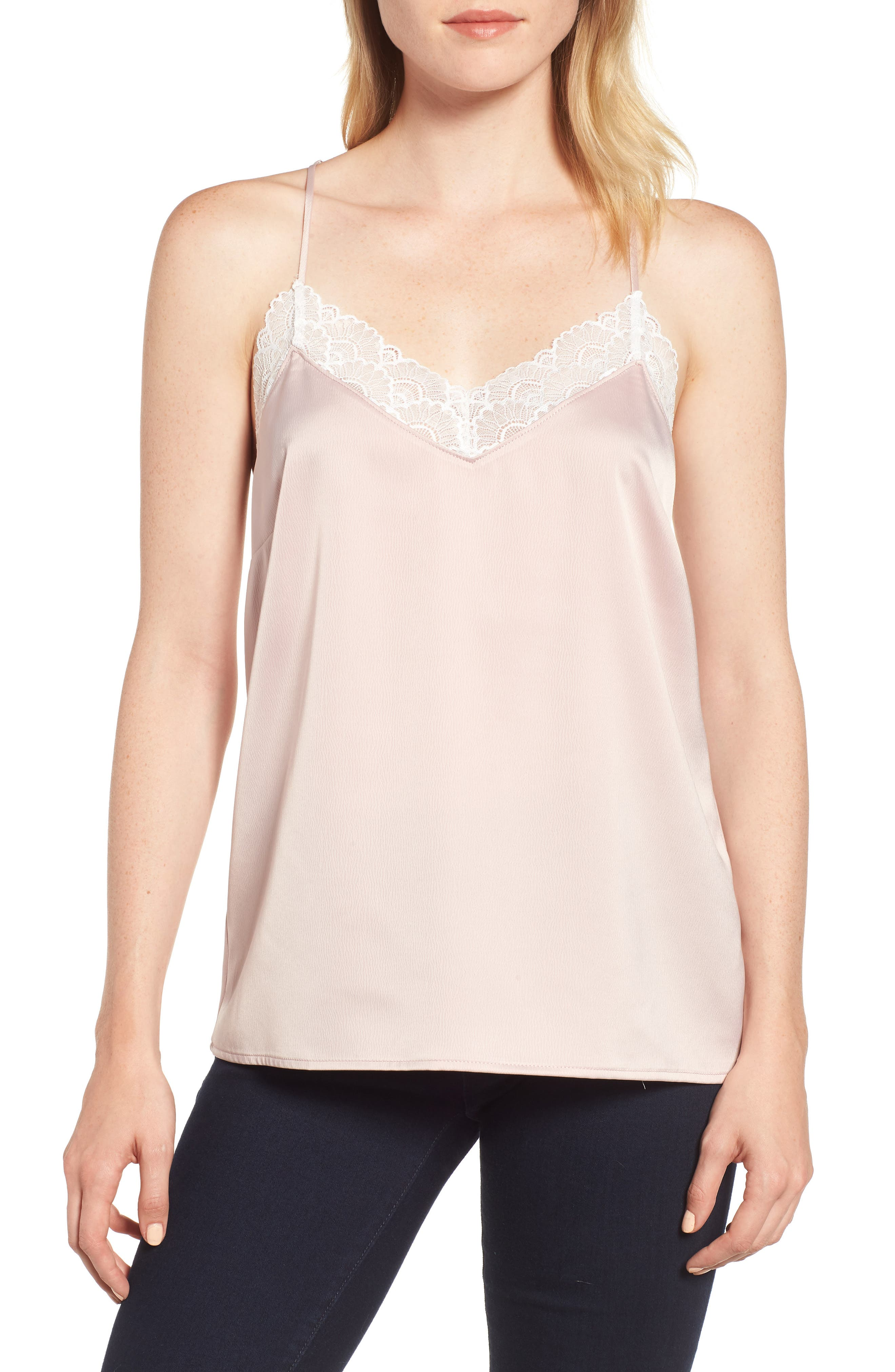 Petite Gibson X Living In Yellow Betty Lace Trim Camisole, Pink
