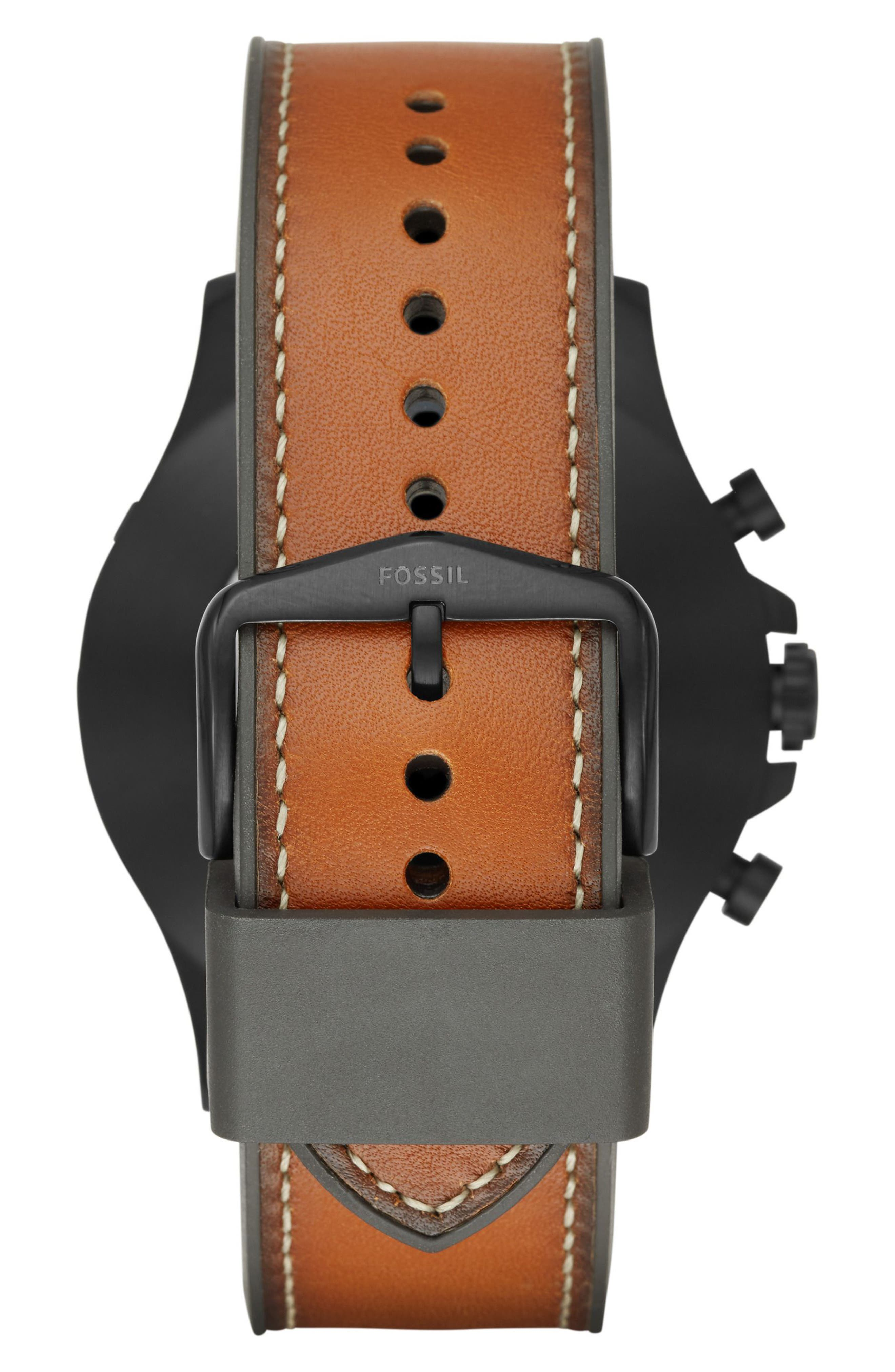Nate Leather Strap Hybrid Smart Watch, 50mm,                             Alternate thumbnail 3, color,                             BROWN/ BLACK