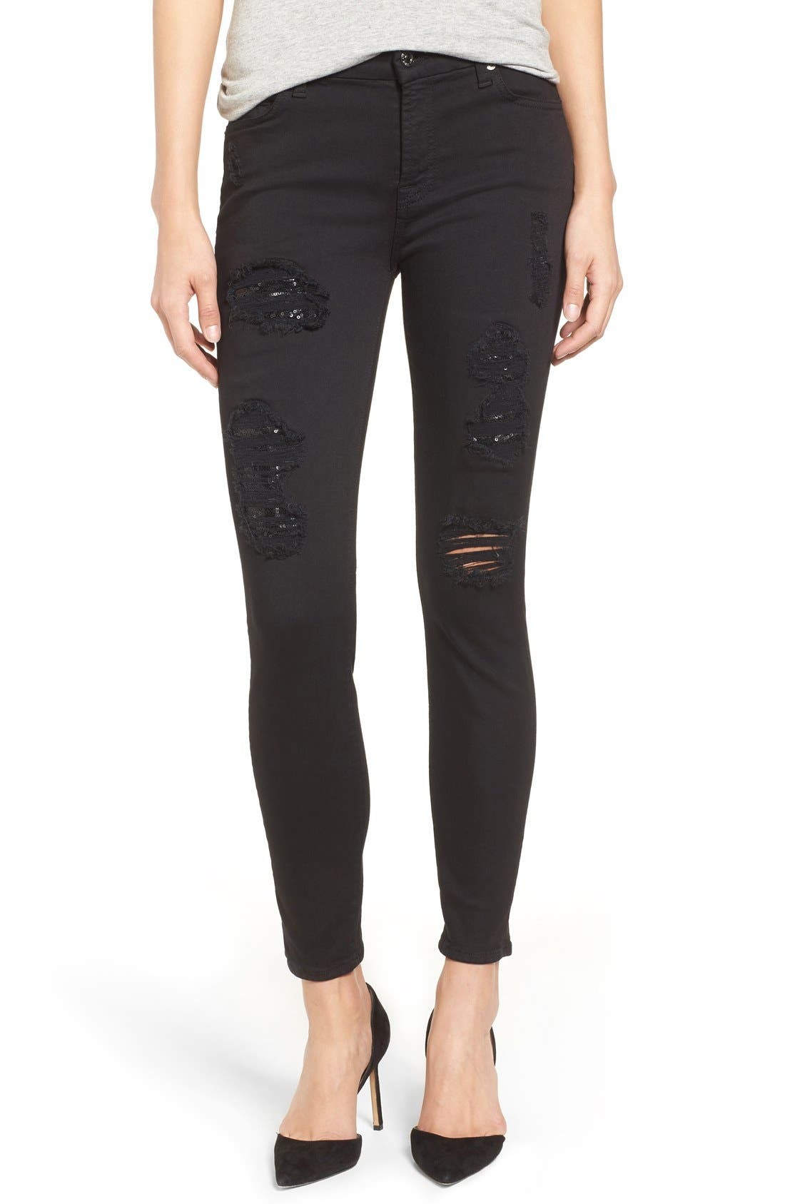 Coated Ankle Skinny Jeans,                             Alternate thumbnail 10, color,