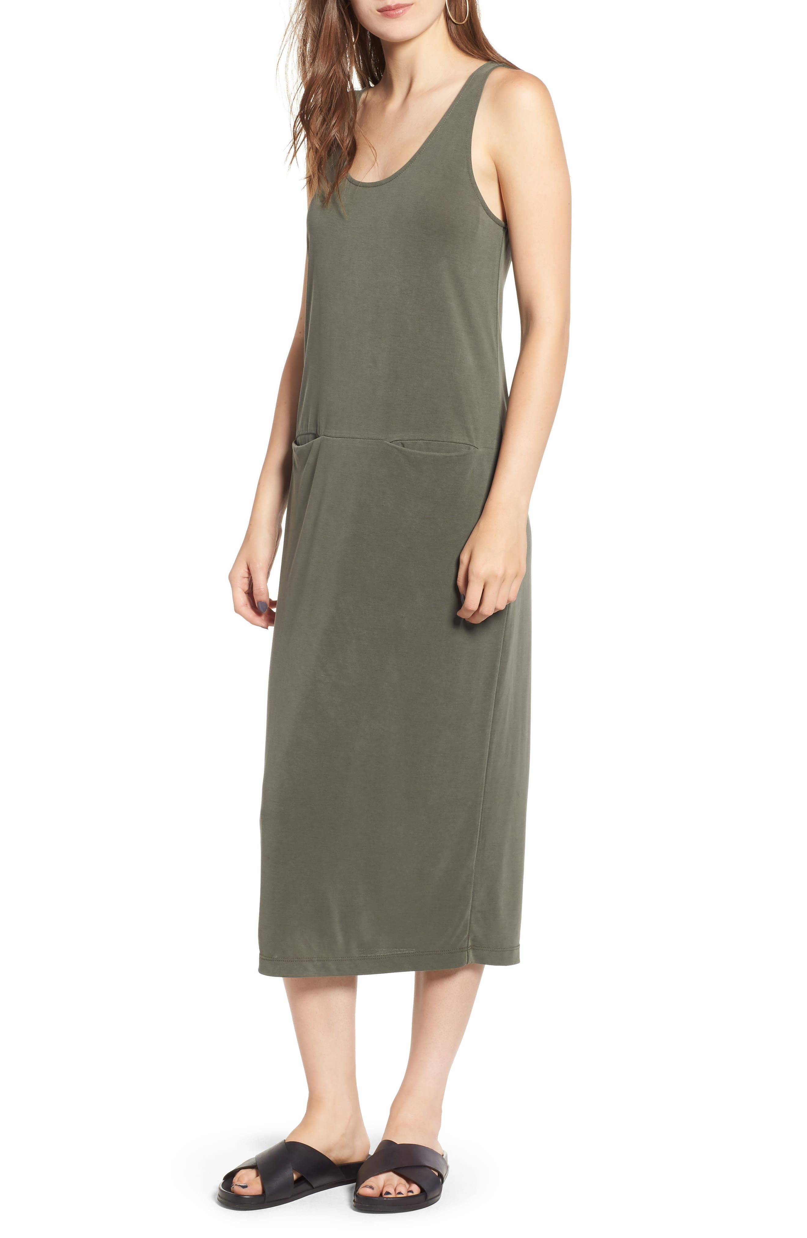 Tank Midi Dress,                         Main,                         color, OLIVE BURNT