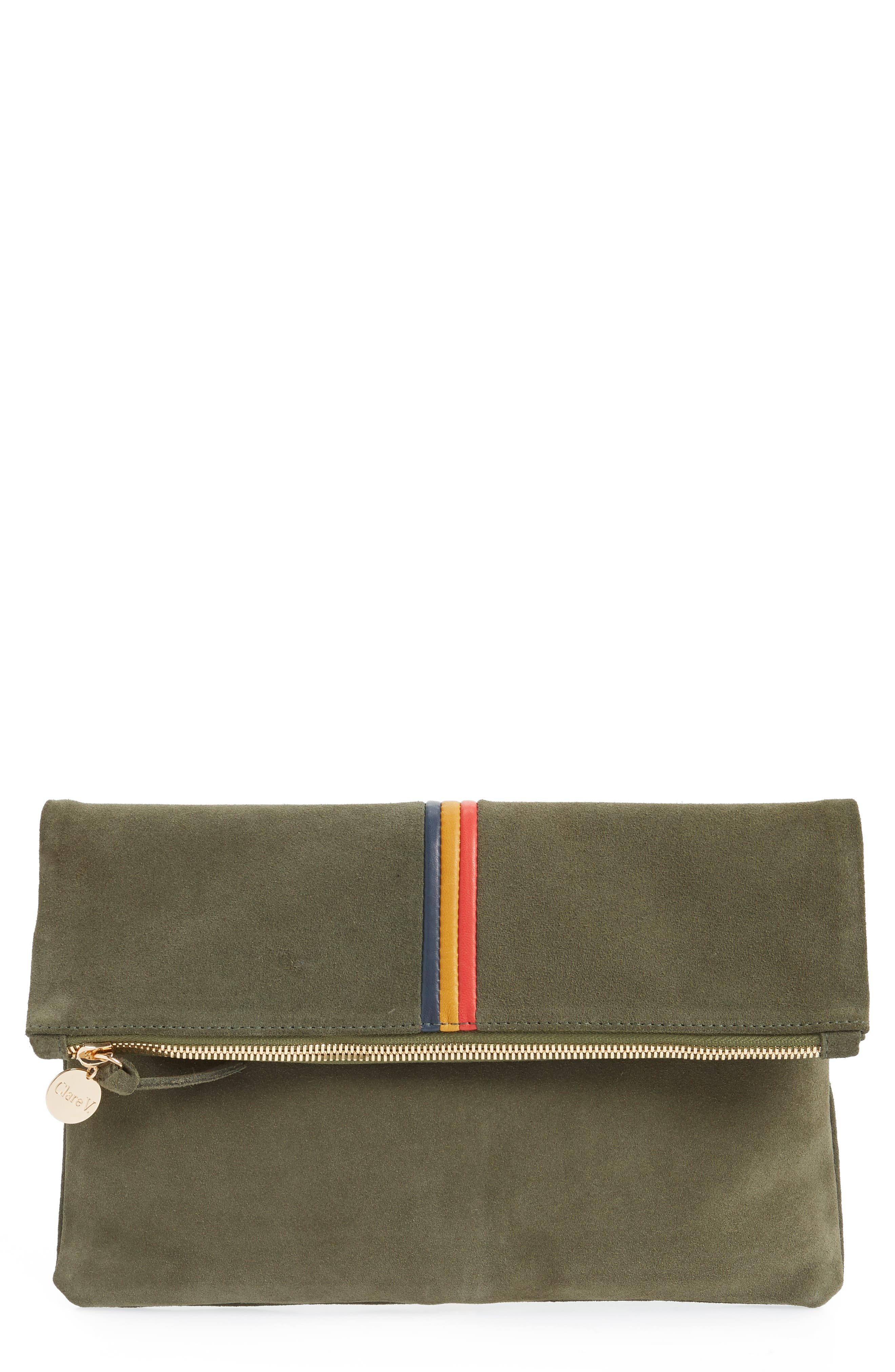 Center Stripe Nubuck Foldover Clutch,                             Main thumbnail 1, color,                             ARMY SUEDE STRIPE