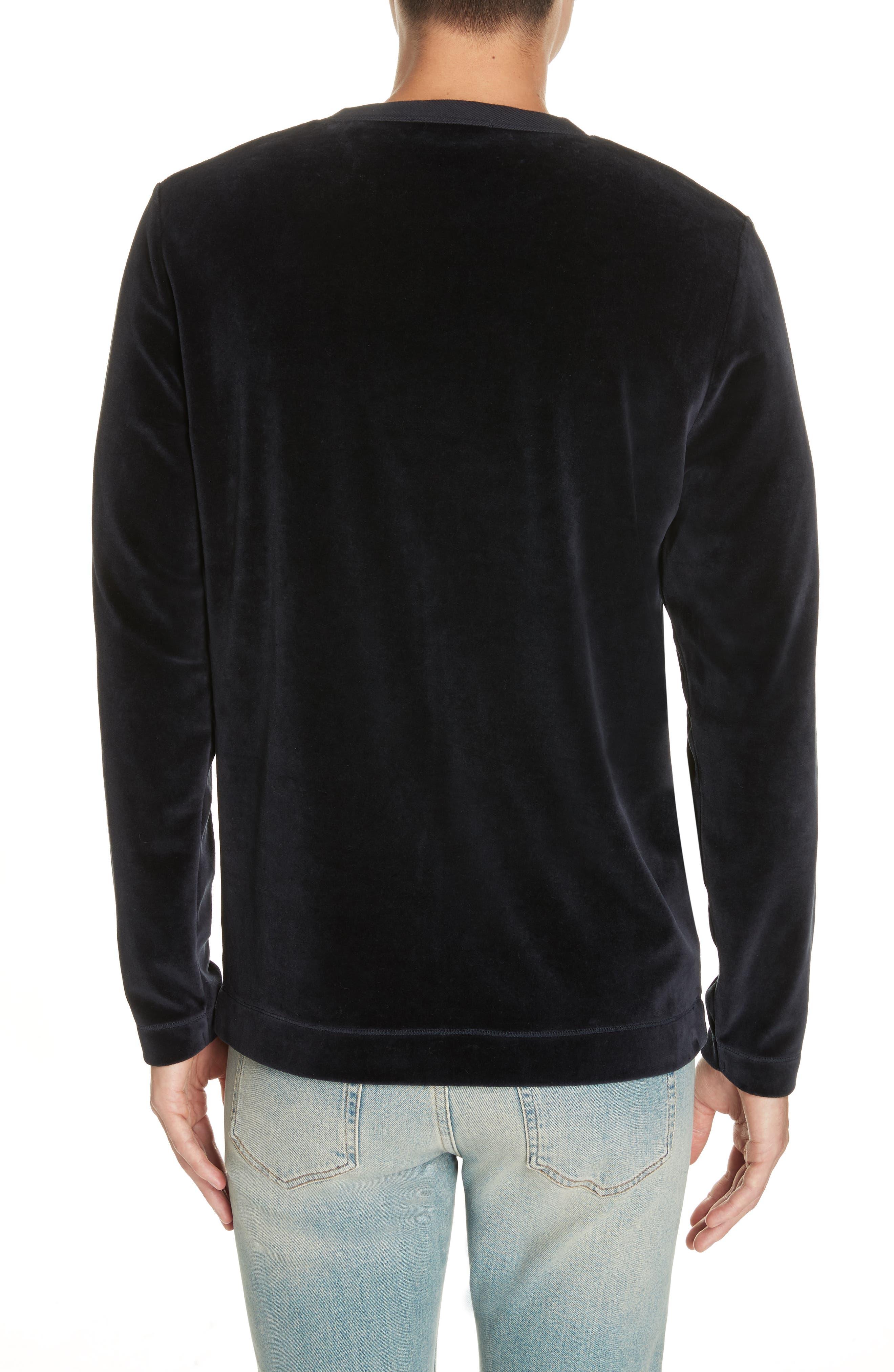 Velour Long Sleeve T-Shirt,                             Alternate thumbnail 2, color,                             NAVY VELOUR