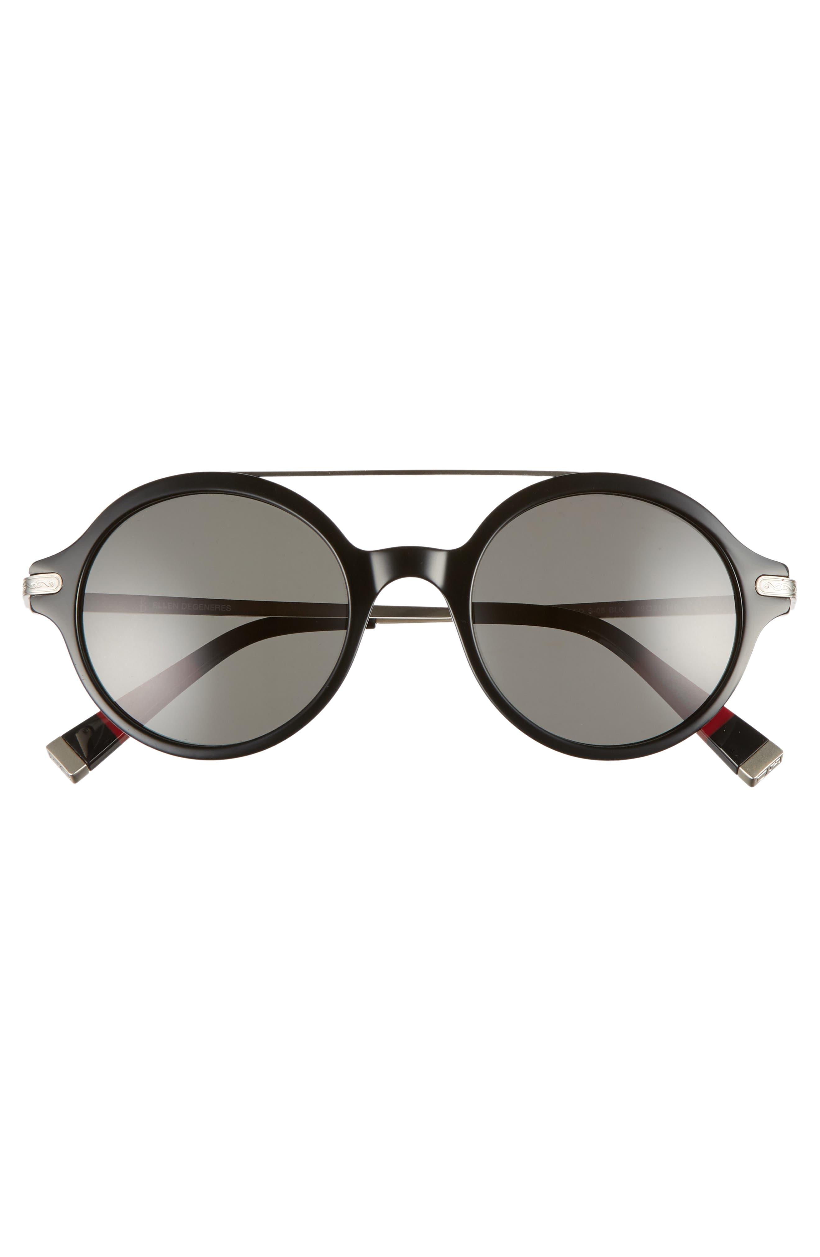 49mm Round Sunglasses,                             Alternate thumbnail 3, color,                             BLACK