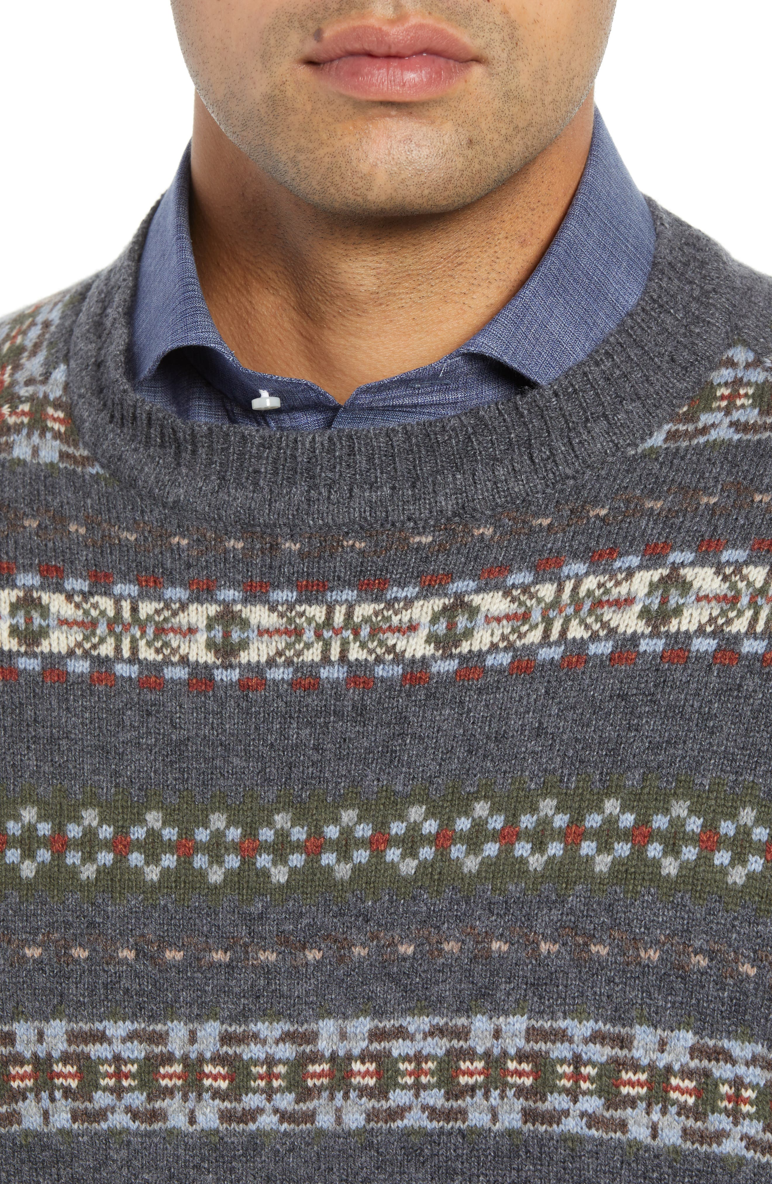 Mountainside Fair Isle Crewneck Sweater,                             Alternate thumbnail 4, color,                             017