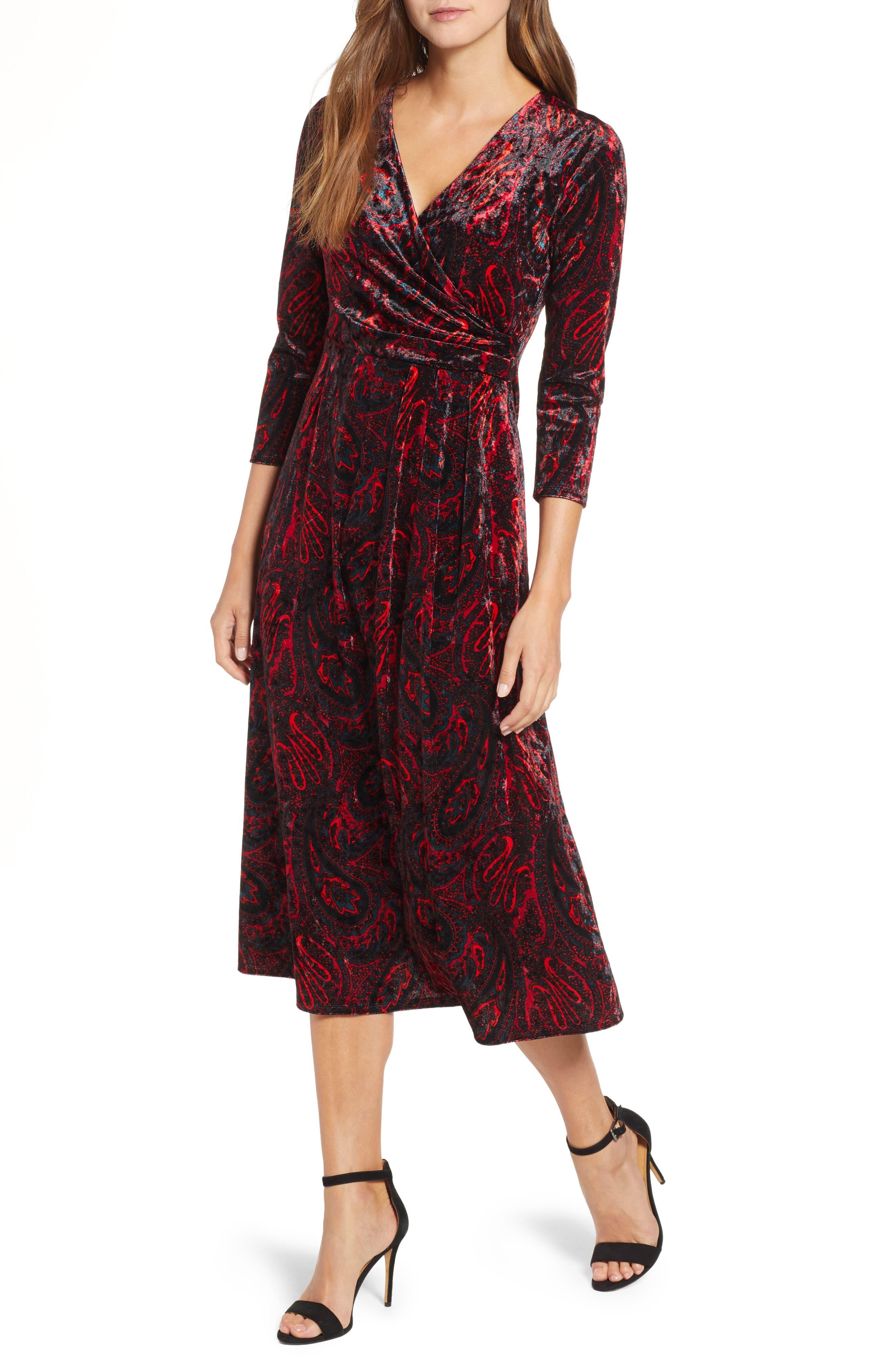 CHAUS Paisley Velvet Faux Wrap Dress, Main, color, RICH BLACK