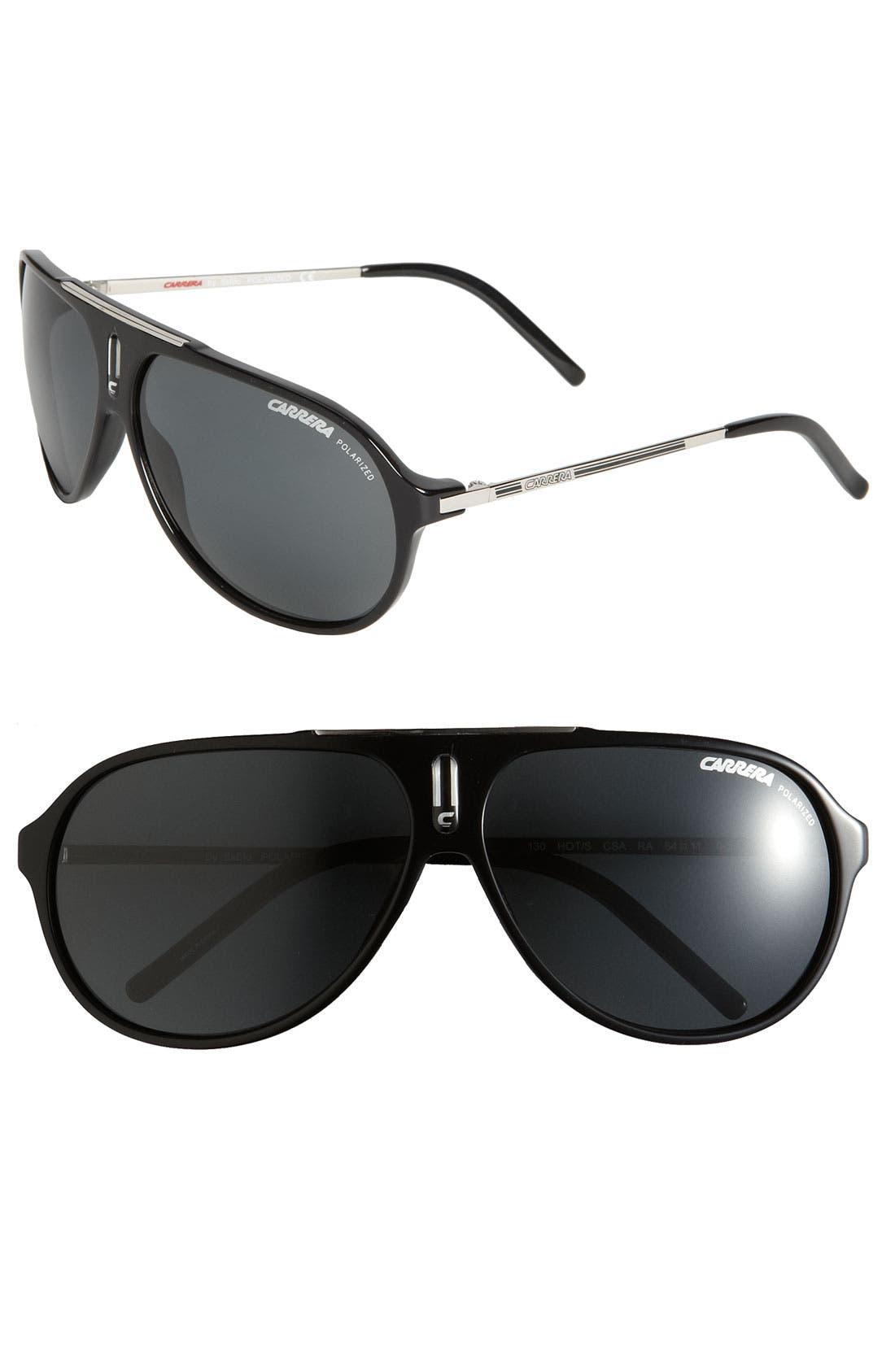 'Hots' 64mm Aviator Sunglasses,                             Main thumbnail 1, color,                             BLACK