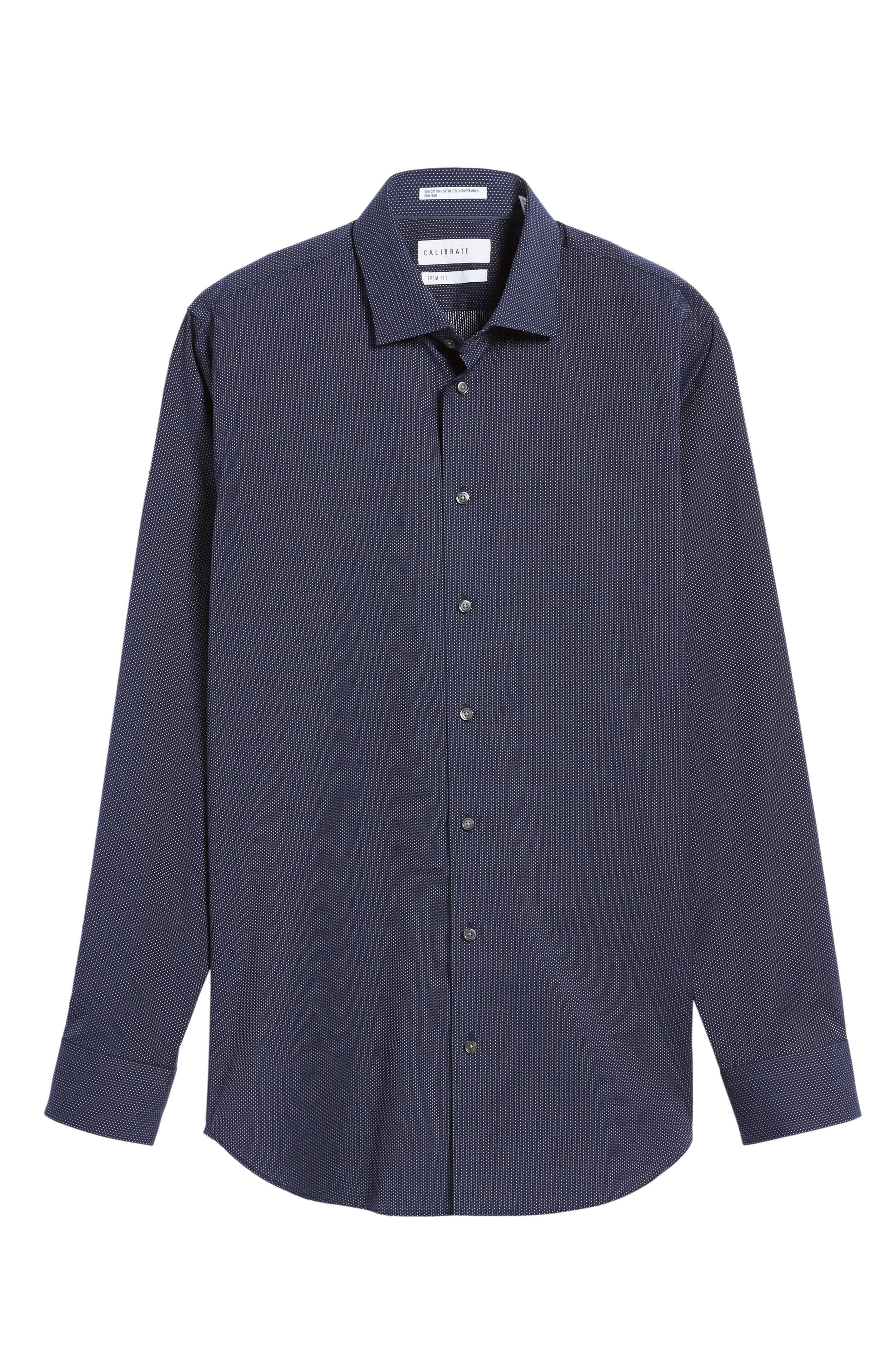 Trim Fit Non-Iron Microdot Dress Shirt,                             Alternate thumbnail 3, color,                             401