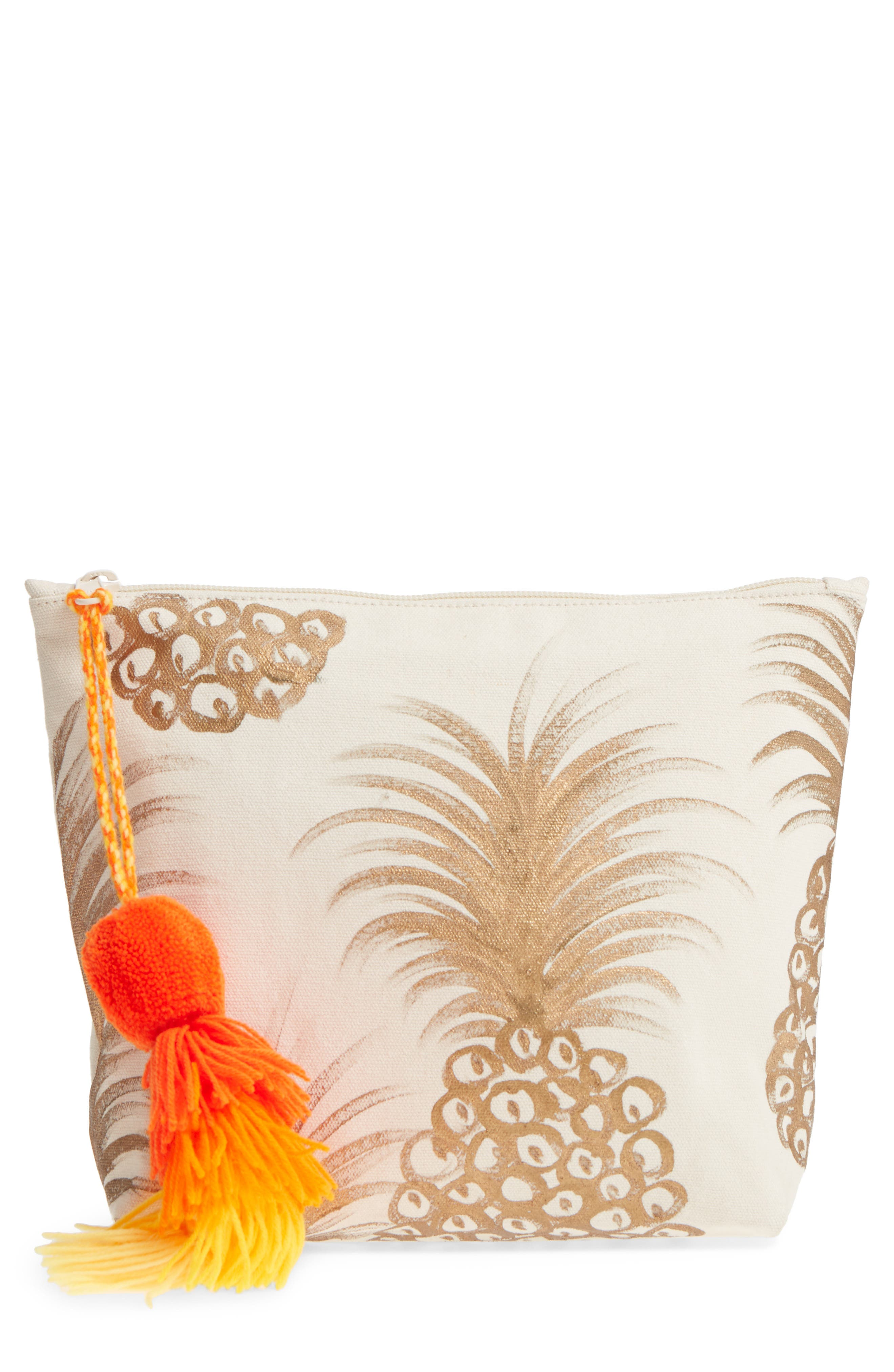 Tropicana Tassel Cosmetic Pouch,                             Main thumbnail 1, color,                             GOLD