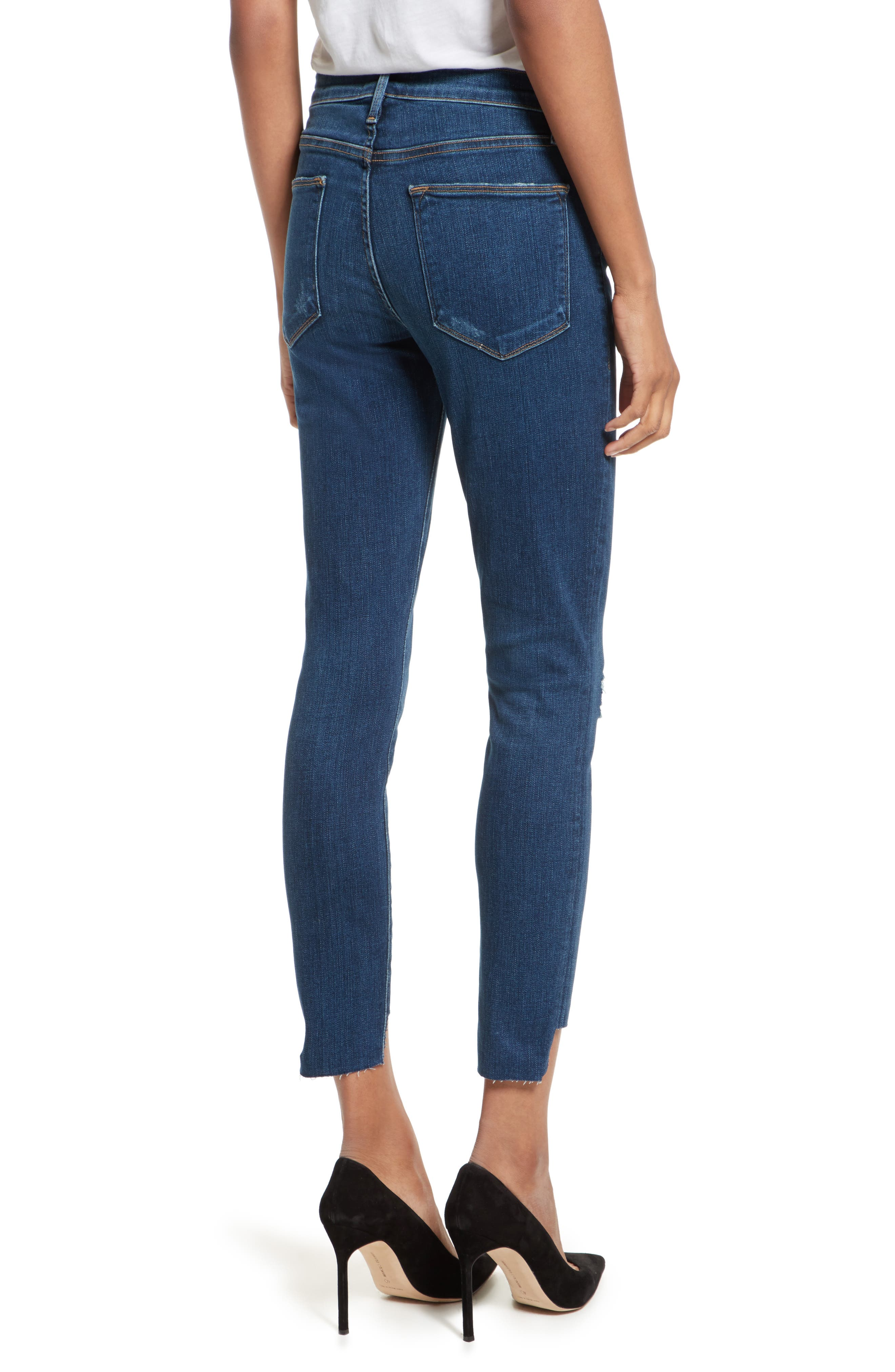 Le High High Waist Staggered Hem Slim Jeans,                             Alternate thumbnail 2, color,                             420